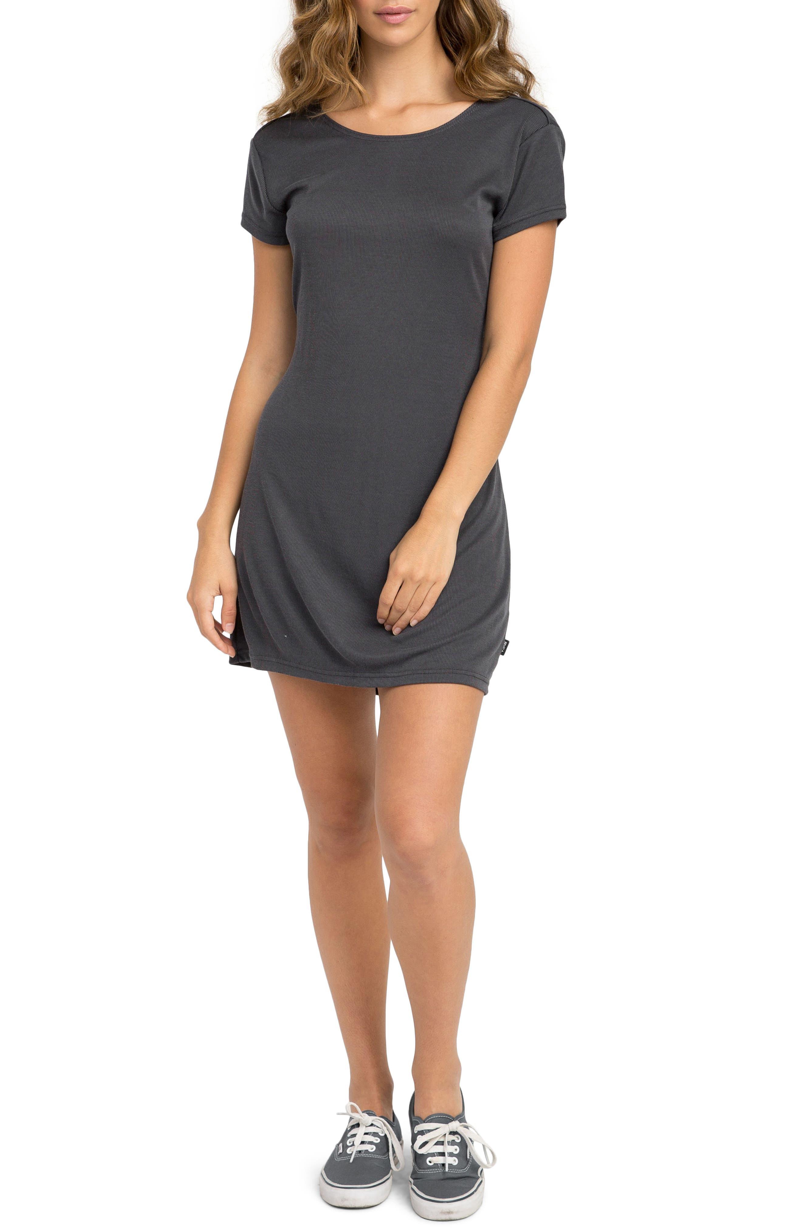 Wallflower Rib Knit Dress,                             Main thumbnail 1, color,                             Black