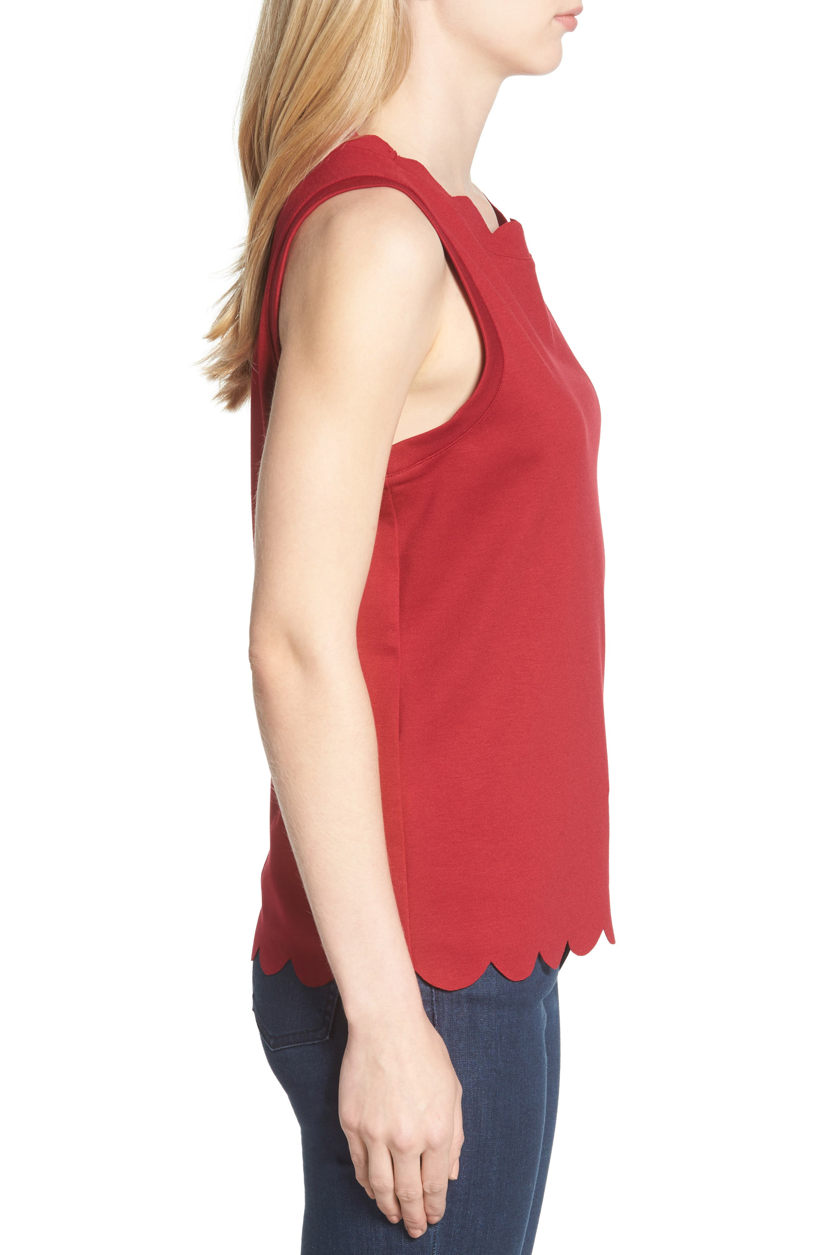 Scallop Edge Sleeveless Top,                             Alternate thumbnail 3, color,                             Red