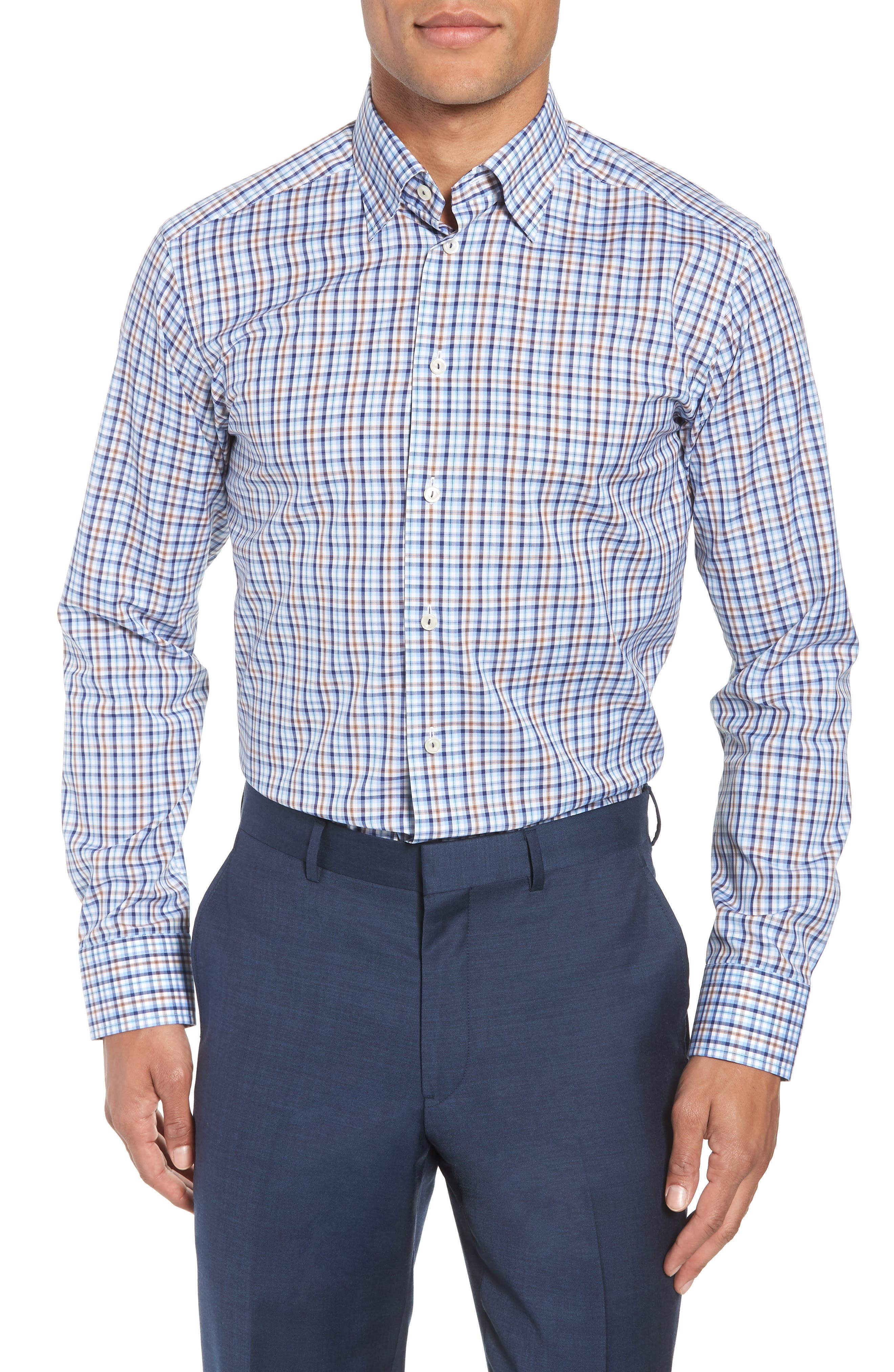 Contemporary Fit Plaid Dress Shirt,                             Main thumbnail 1, color,                             Blue
