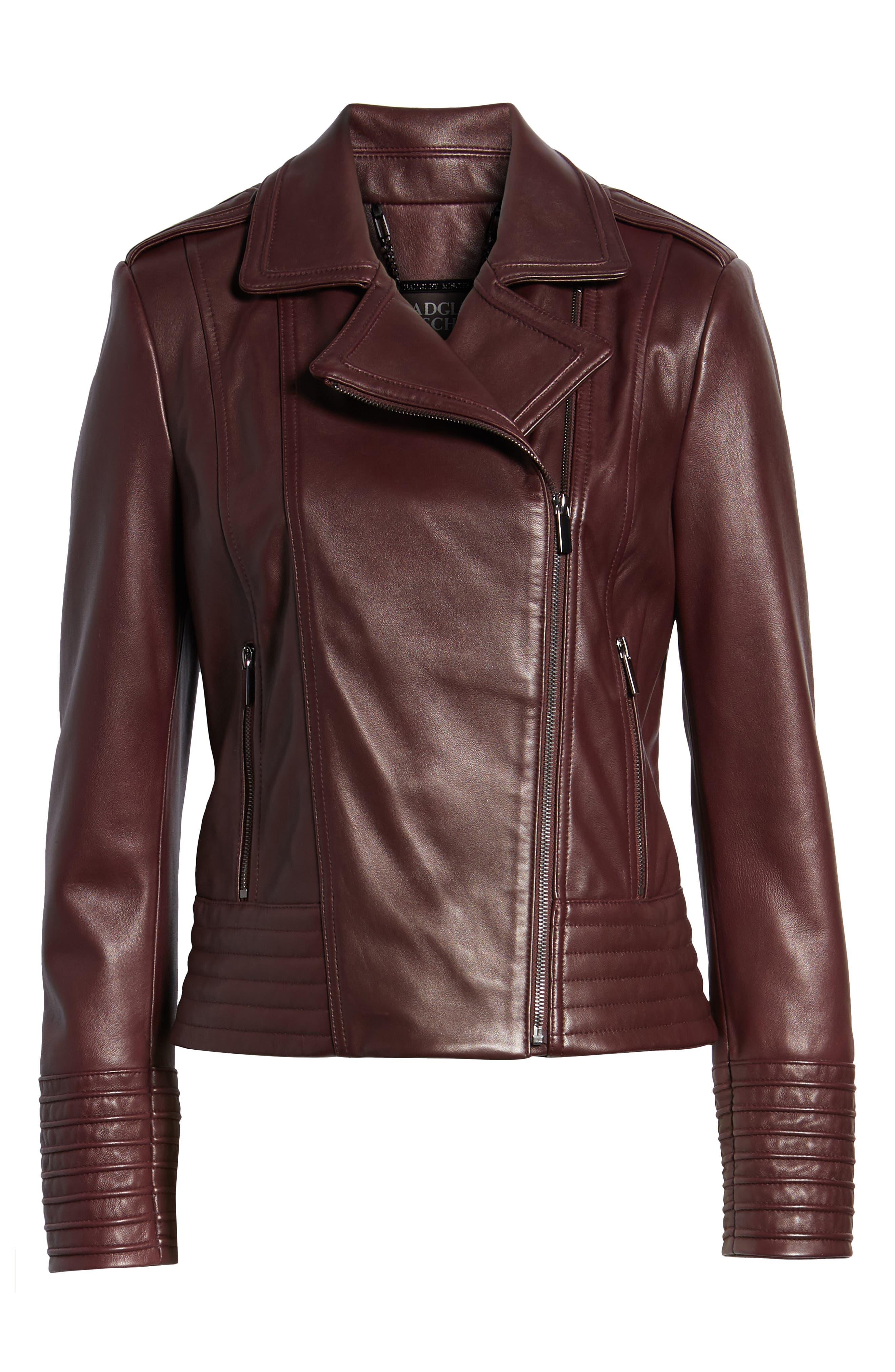 Gia Leather Biker Jacket,                             Alternate thumbnail 6, color,                             Burgundy