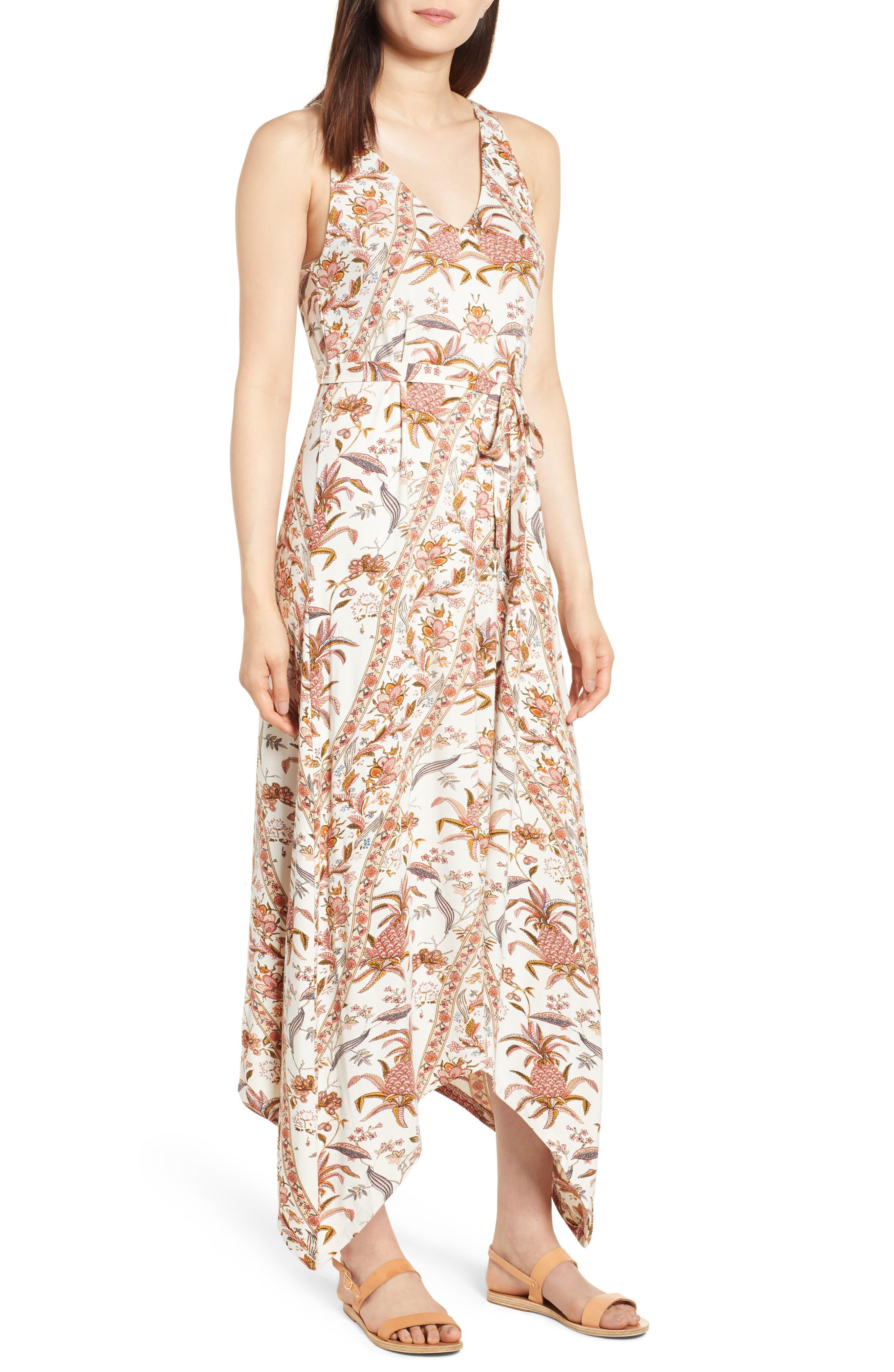V-Neck Print Maxi Dress,                         Main,                         color, Pink Multi