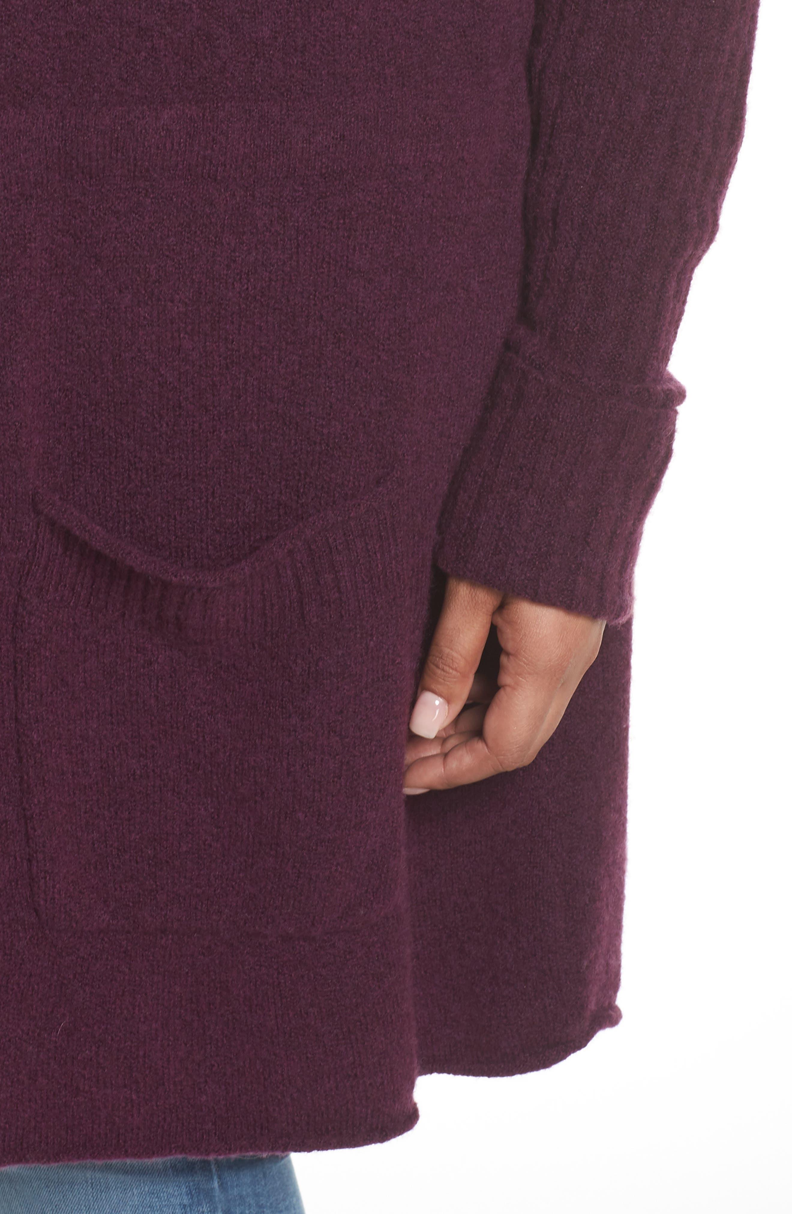 Hooded Cardigan,                             Alternate thumbnail 3, color,                             Purple Potent