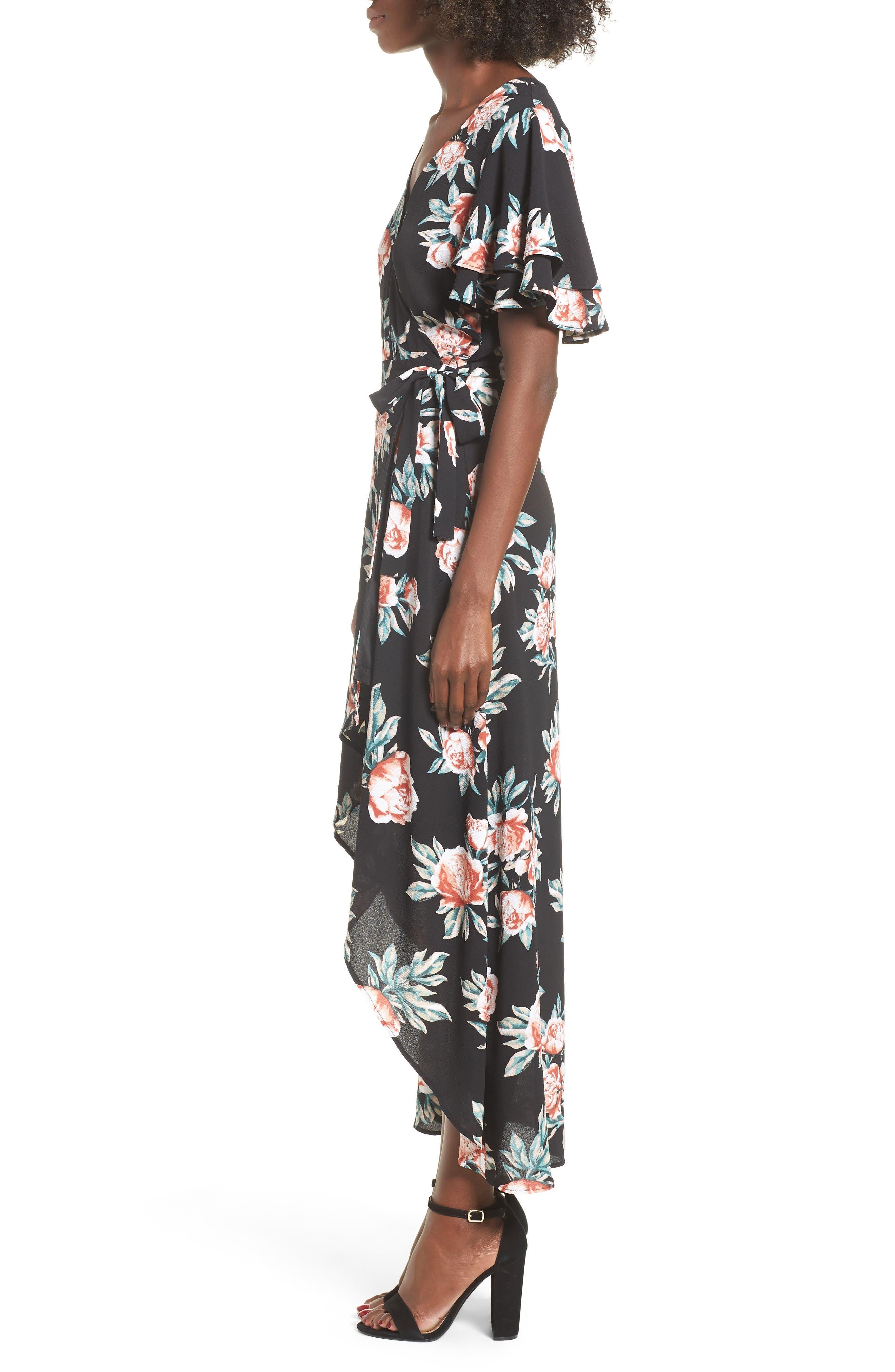 Ruffle Sleeve Floral Maxi Dress,                             Alternate thumbnail 6, color,                             Black Floral