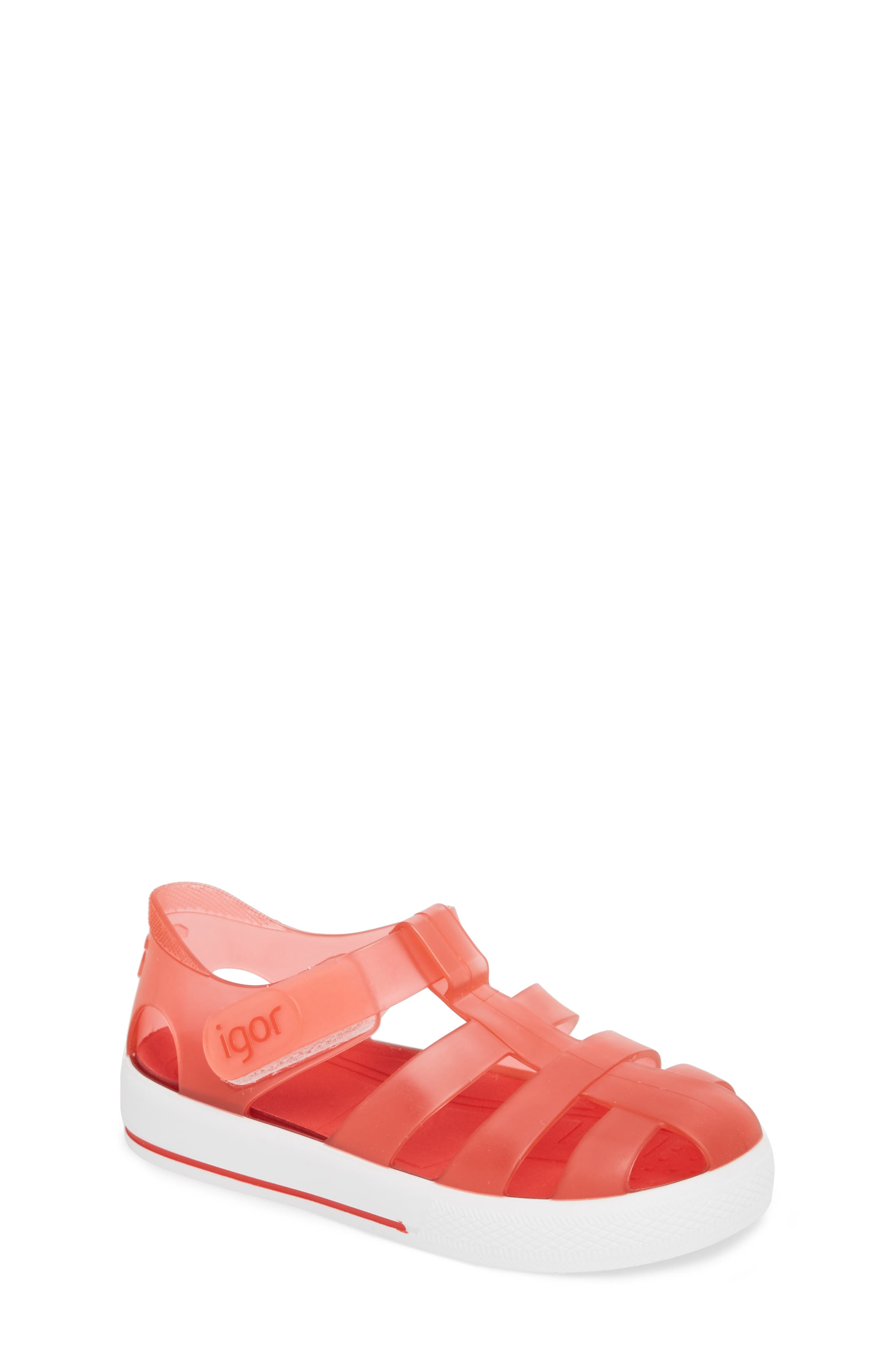 'Star' Glitter Jelly Fisherman Sandal,                             Main thumbnail 1, color,                             Red