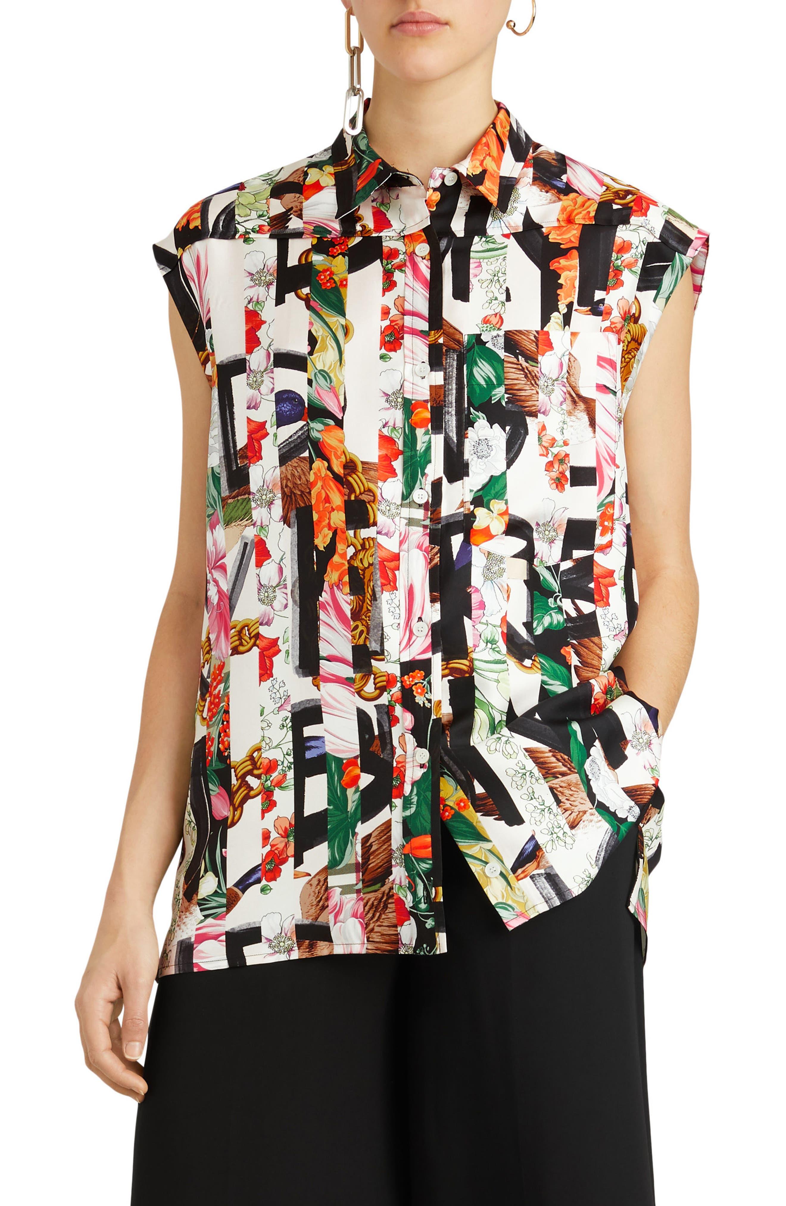 Hen Silk Blouse,                         Main,                         color, Multicolor Pattern
