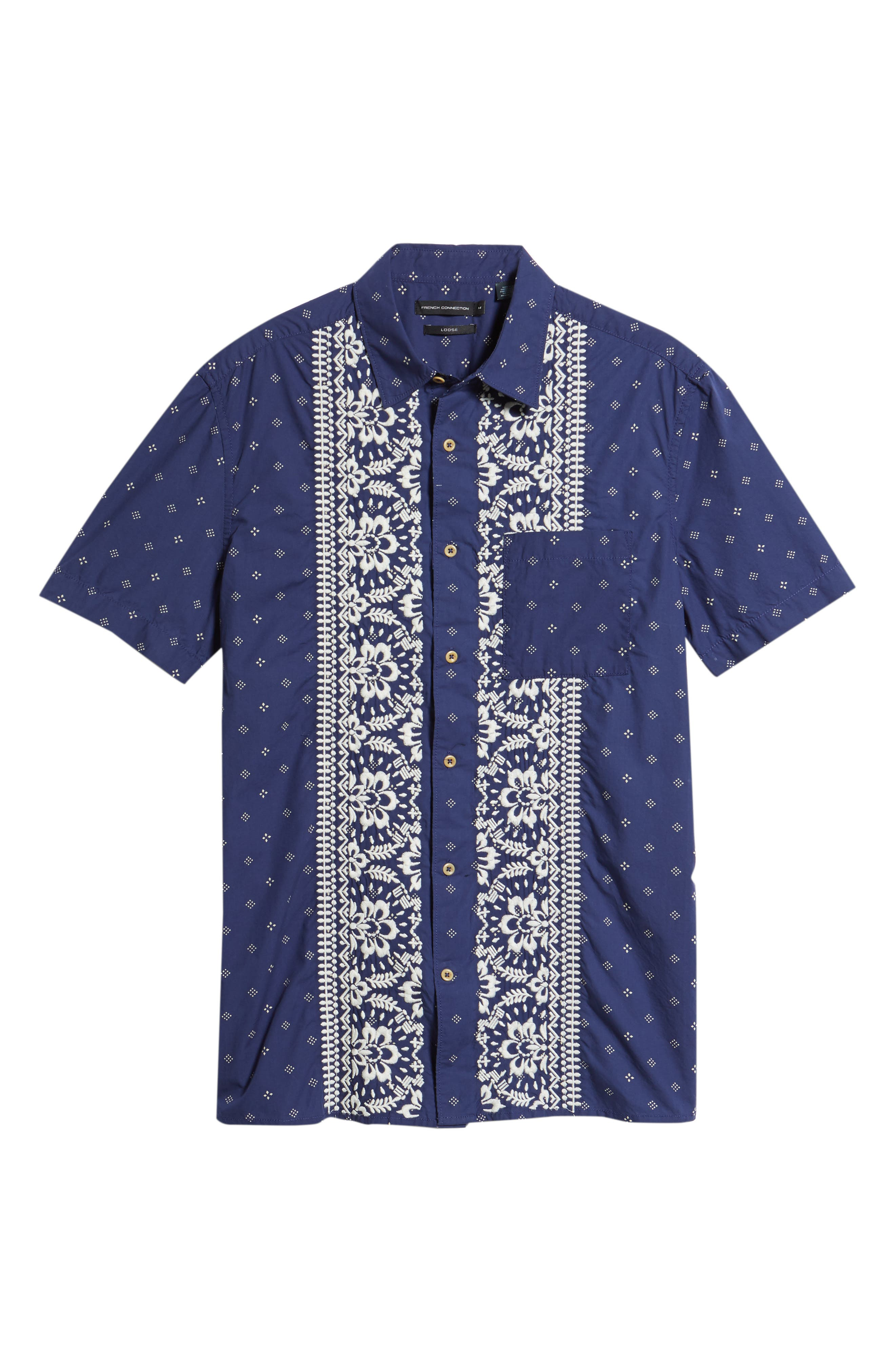 Iki Lawn Embroidered Shirt,                             Alternate thumbnail 6, color,                             Patriot Blue Turtle Dove