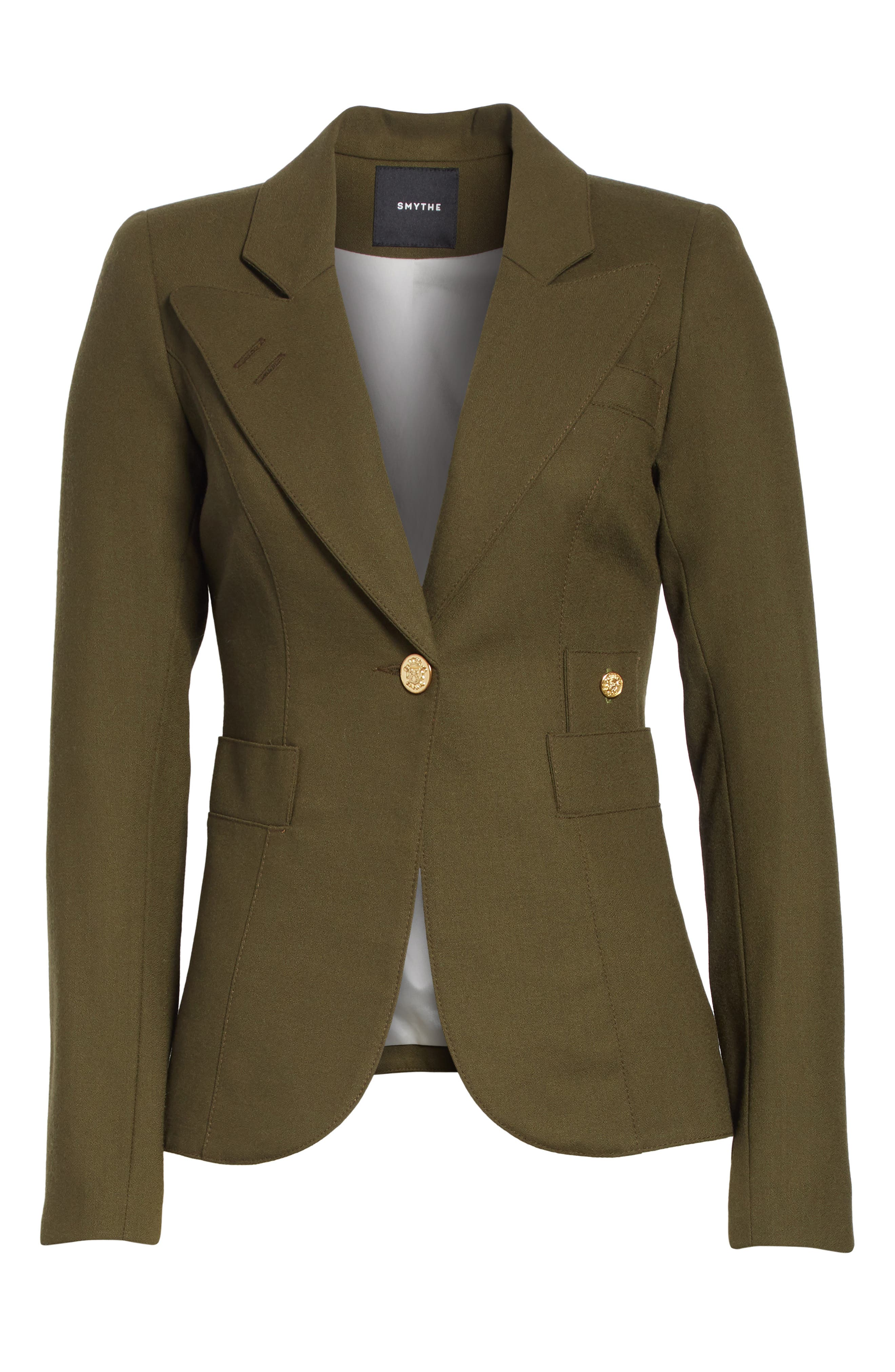 Classic Duchess Blazer,                             Alternate thumbnail 3, color,                             Army