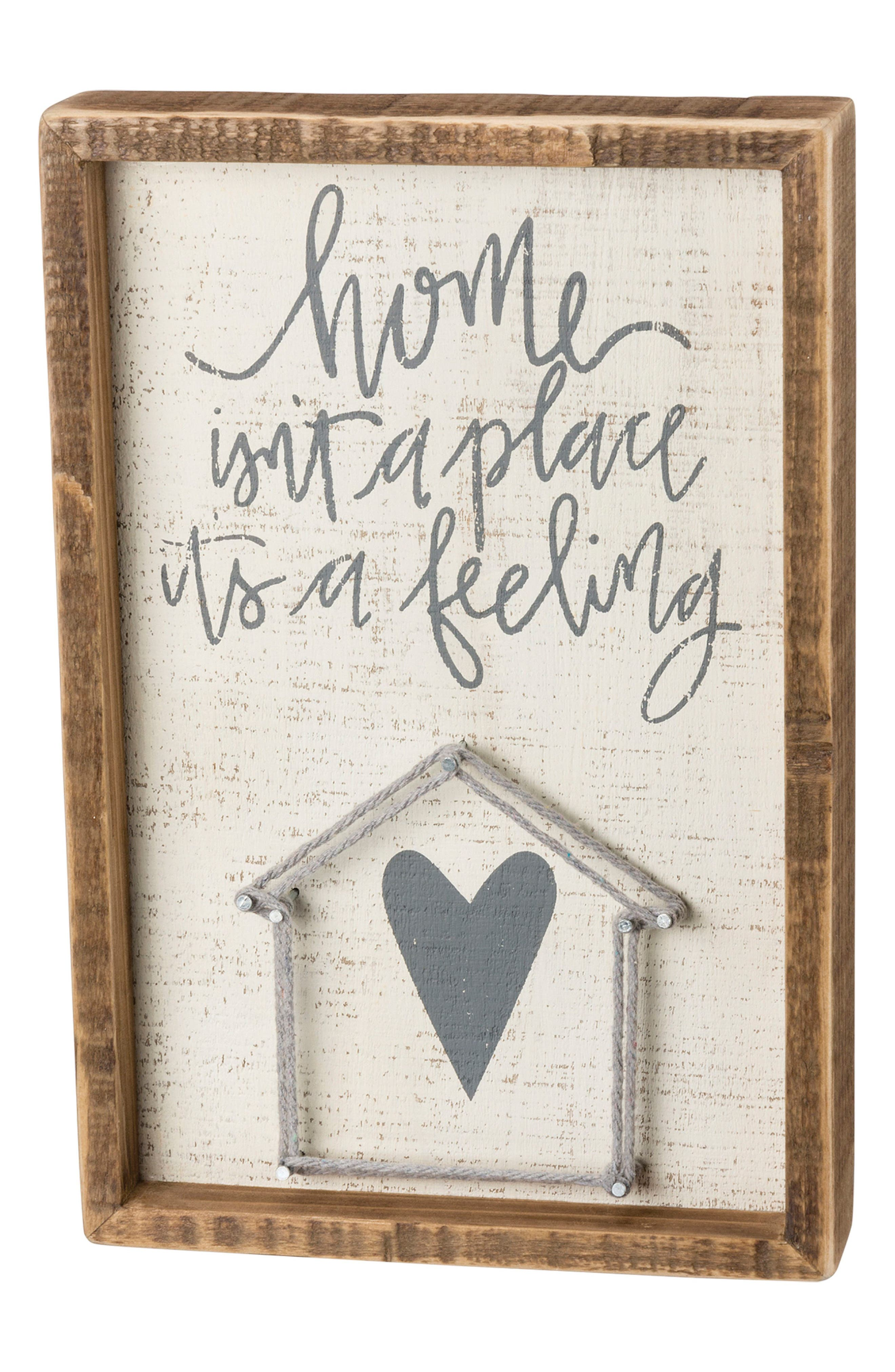 Home Is A Feeling String Art Box Sign,                             Main thumbnail 1, color,                             White