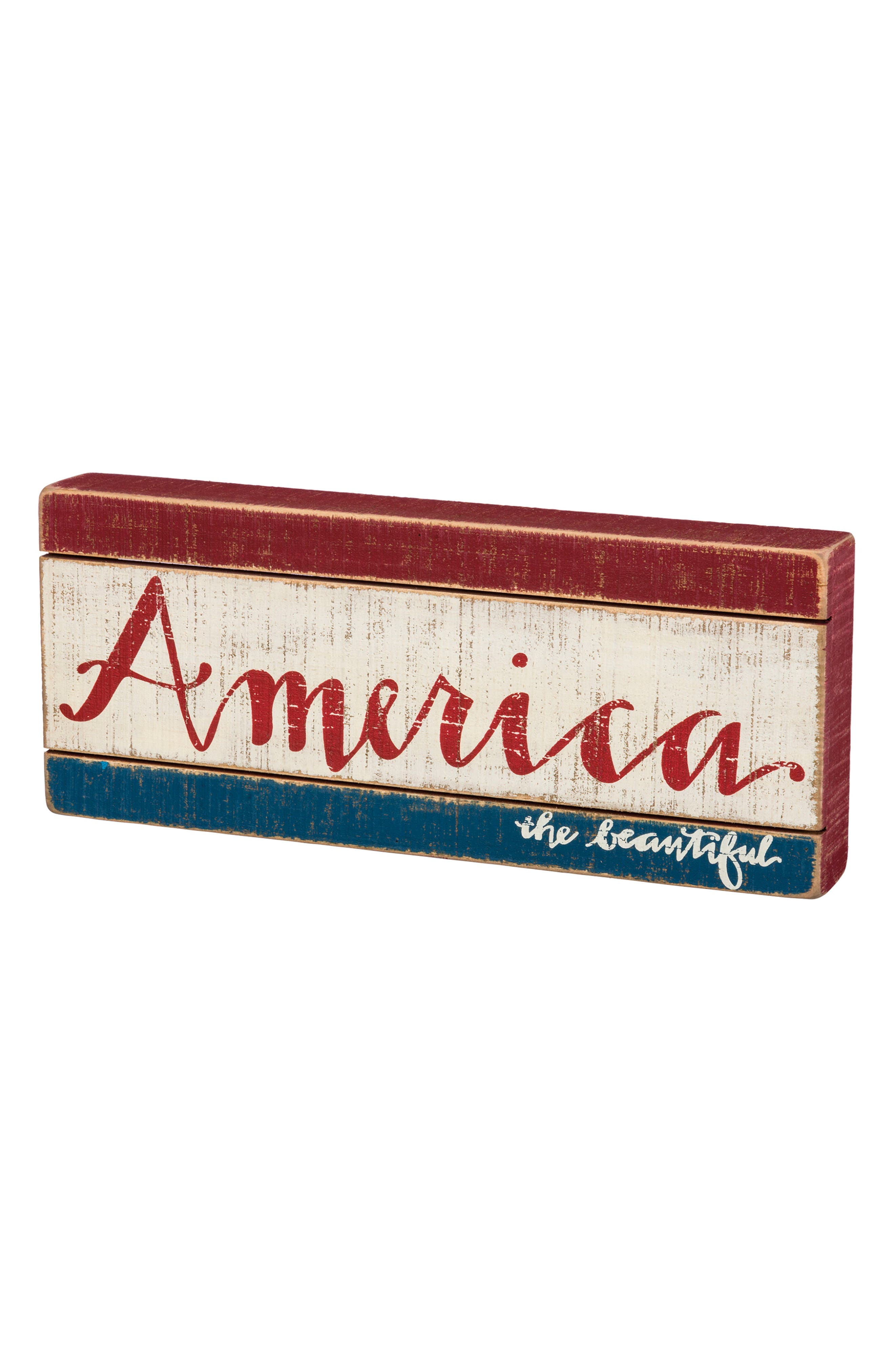 America The Beautiful Slat Box Sign,                         Main,                         color, White