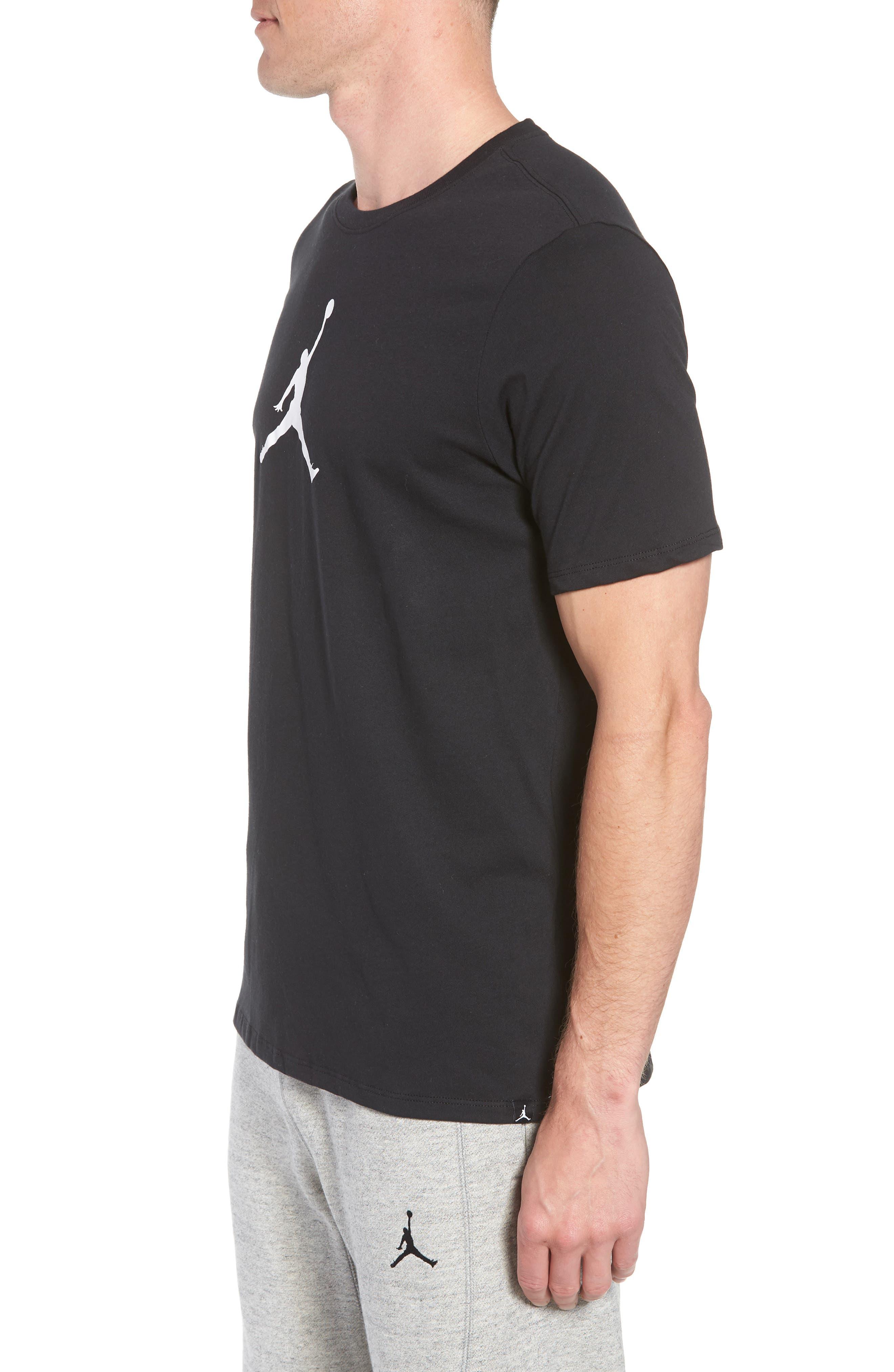 Iconic Jumpman Graphic T-Shirt,                             Alternate thumbnail 3, color,                             Black/ White