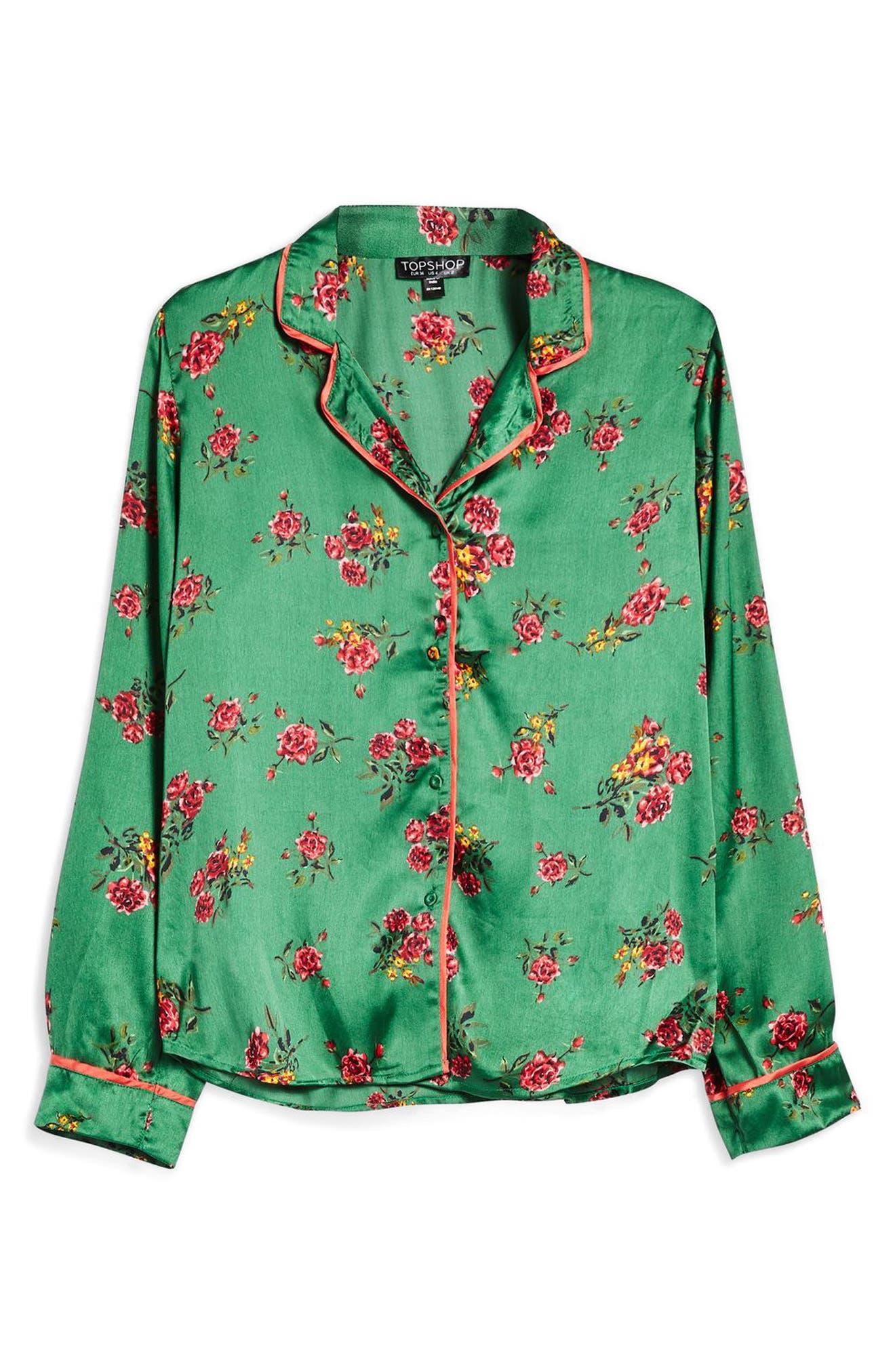 Floral Print Pajama Shirt,                             Alternate thumbnail 3, color,                             Bright Green Multi
