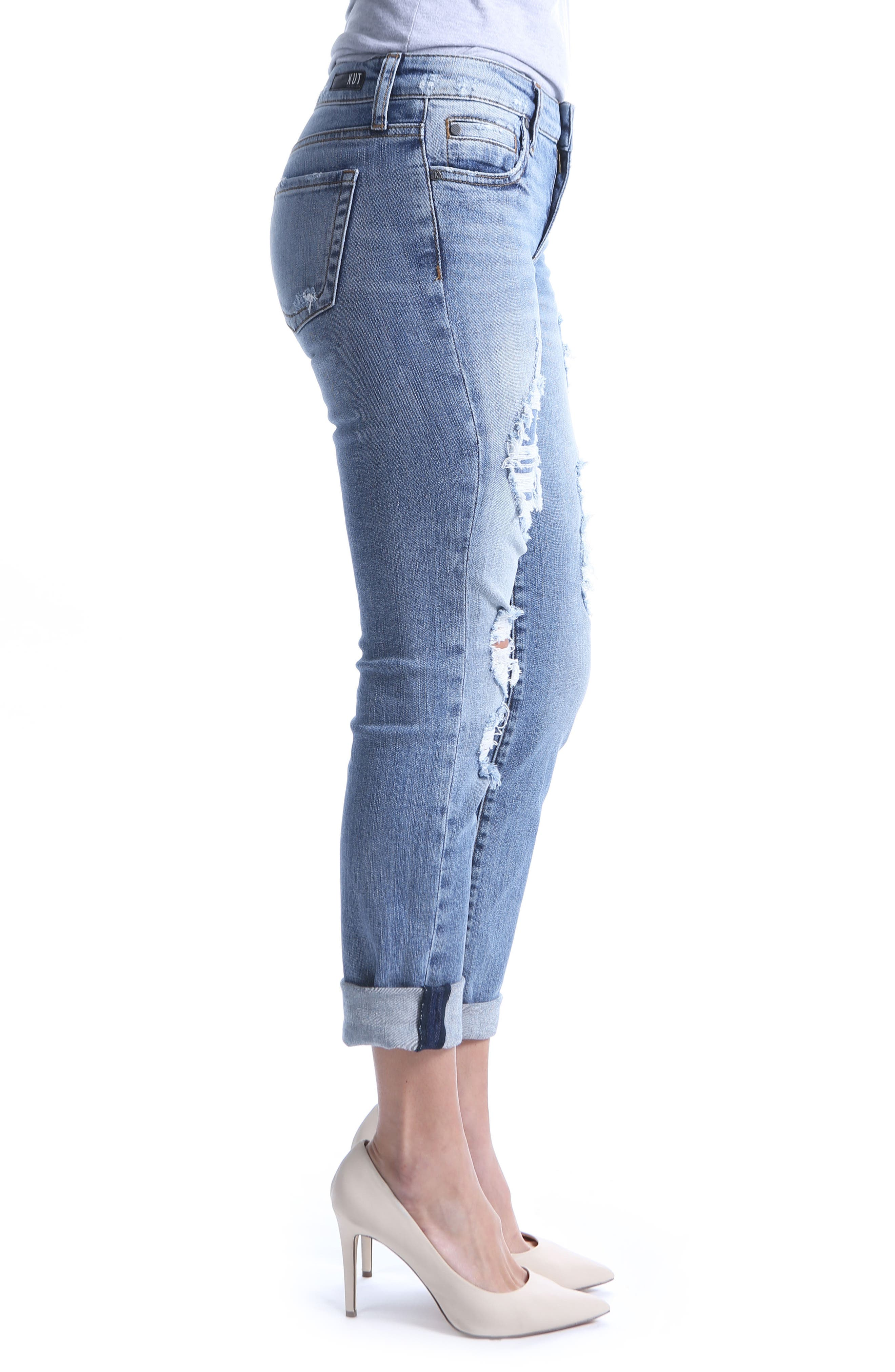 KUT from the Kloth Catherine Ripped Boyfriend Jeans,                             Alternate thumbnail 3, color,                             Attract