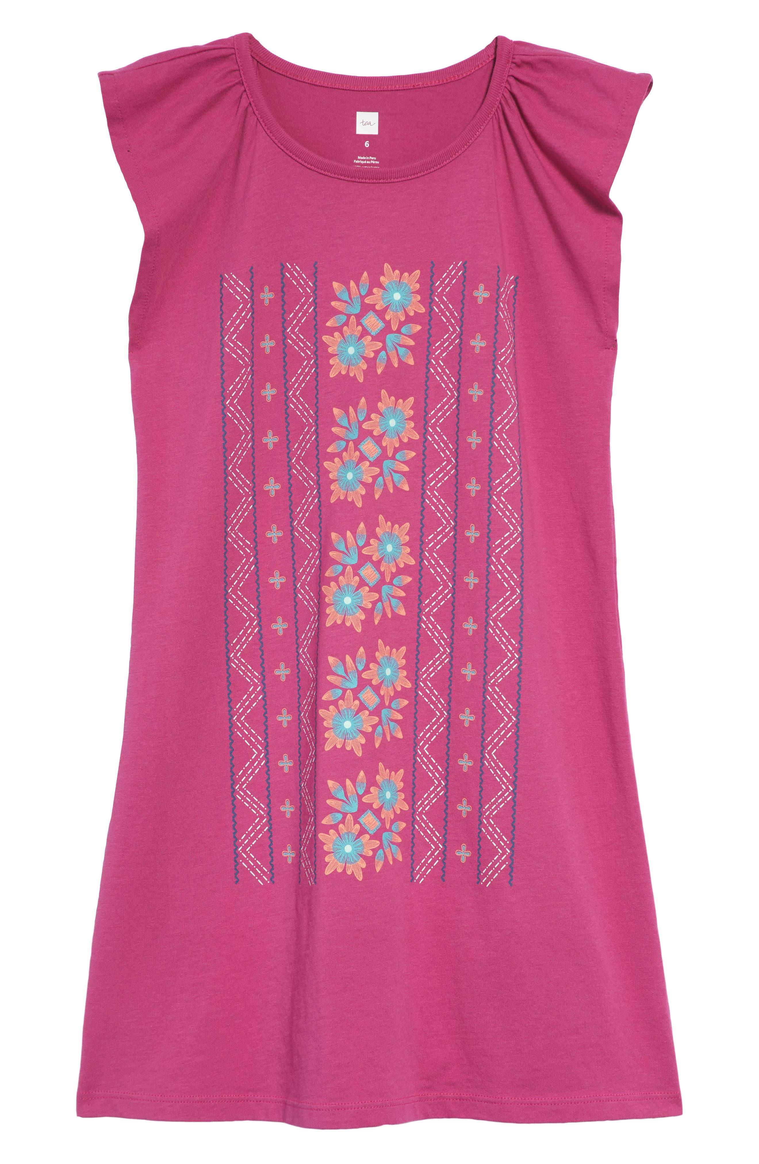 Floral Graphic Dress,                             Main thumbnail 1, color,                             Snapdragon