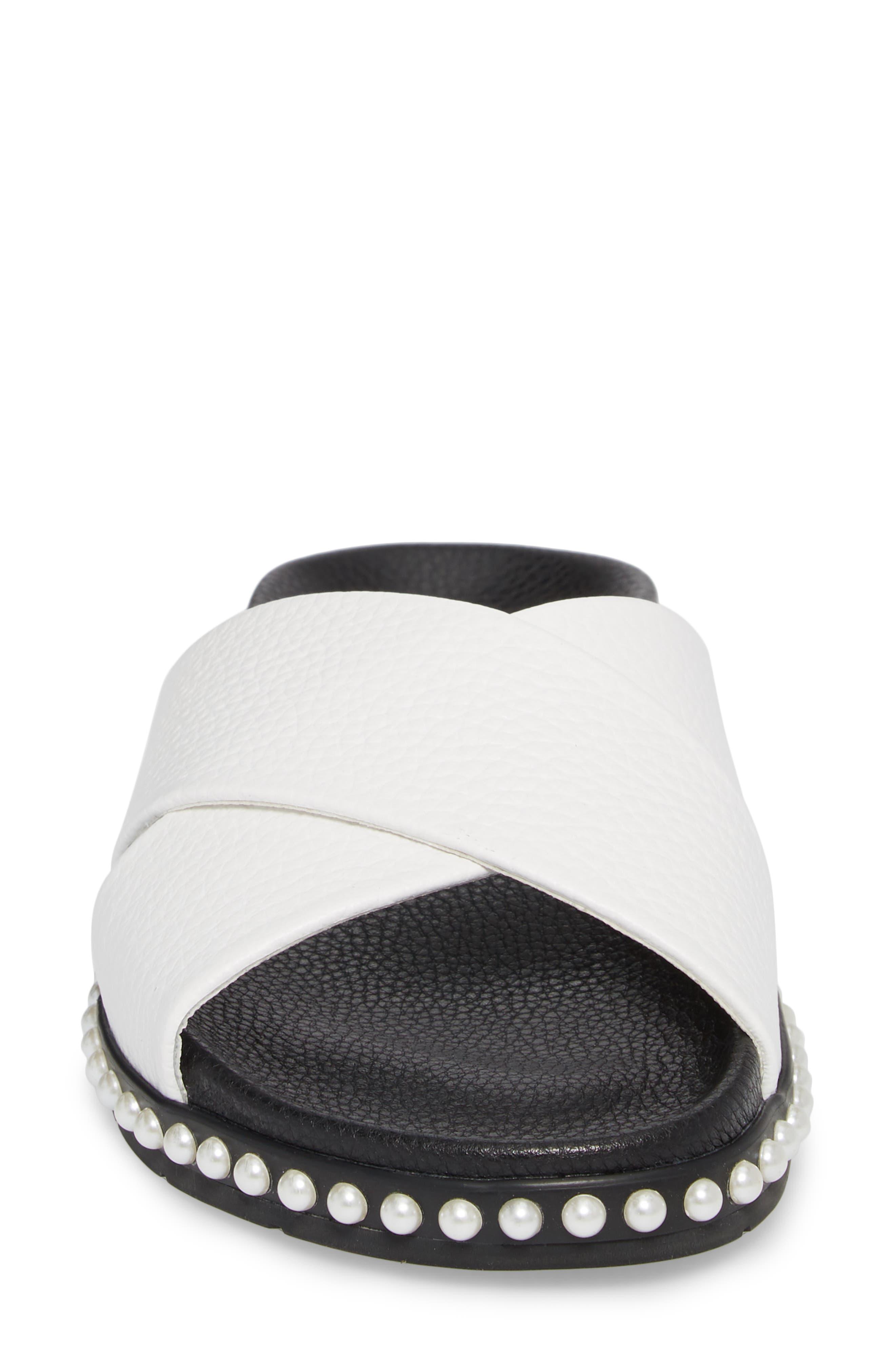 Xiomana Slide Sandal,                             Alternate thumbnail 4, color,                             White Leather