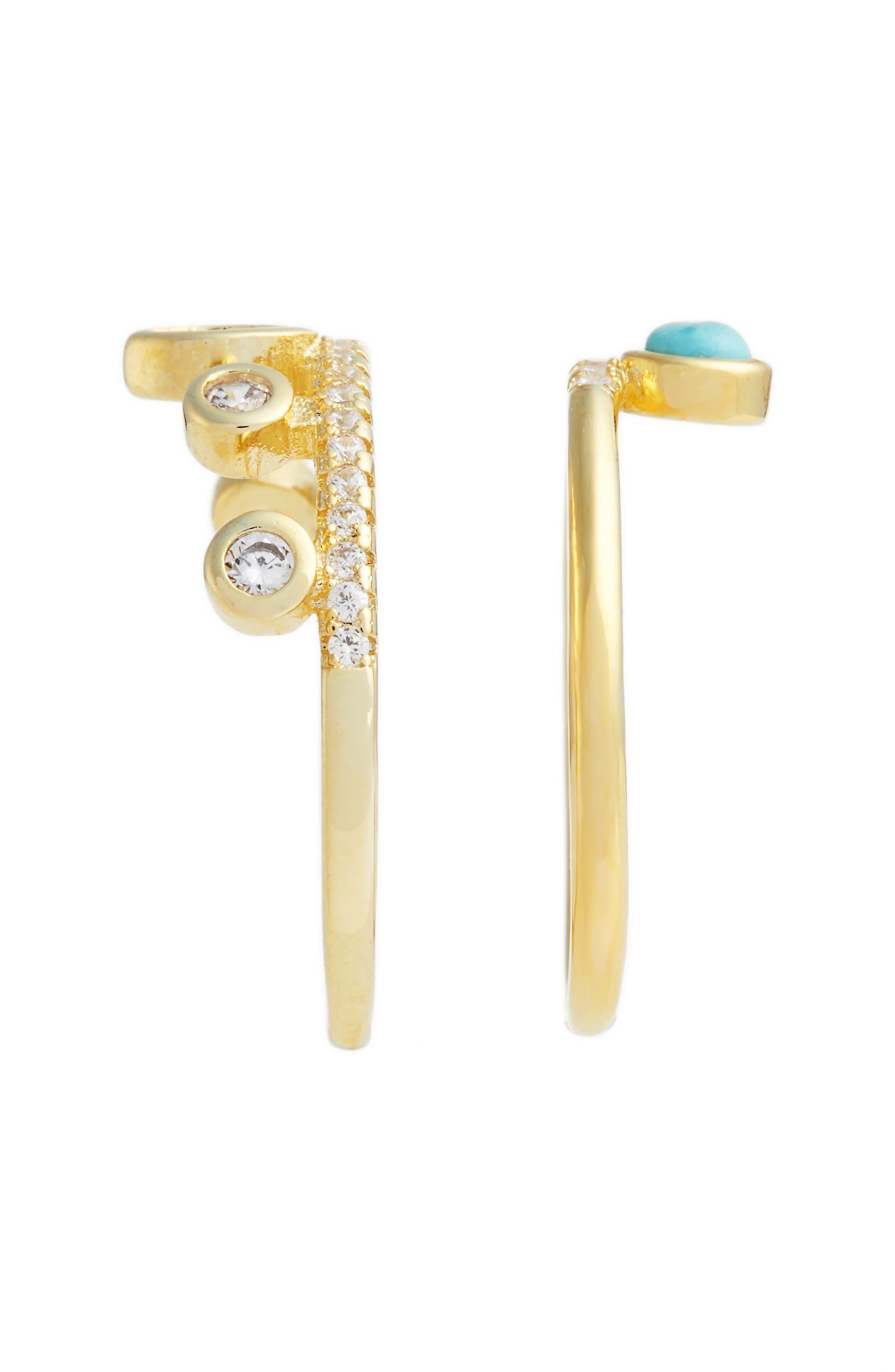 Jacinta Set of 2 Turquoise & Crystal Rings,                             Alternate thumbnail 2, color,                             Gold