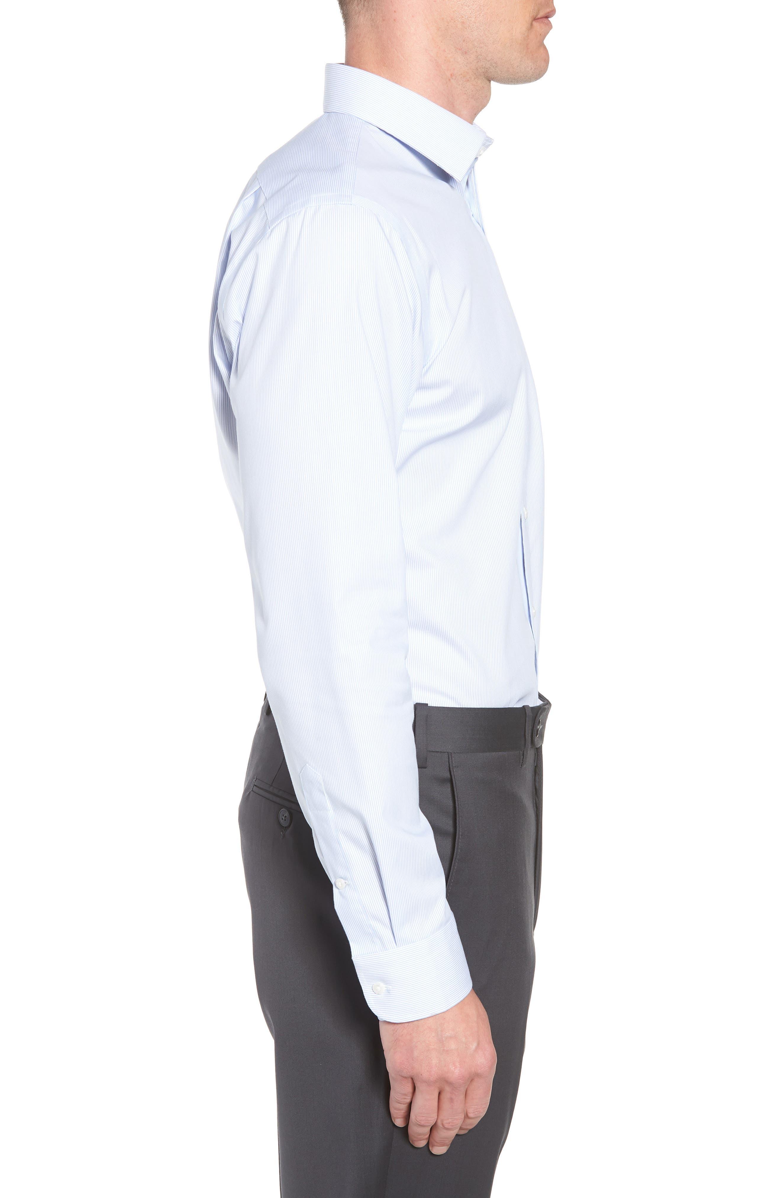 Trim Fit Non-Iron Stripe Dress Shirt,                             Alternate thumbnail 4, color,                             Blue Vista