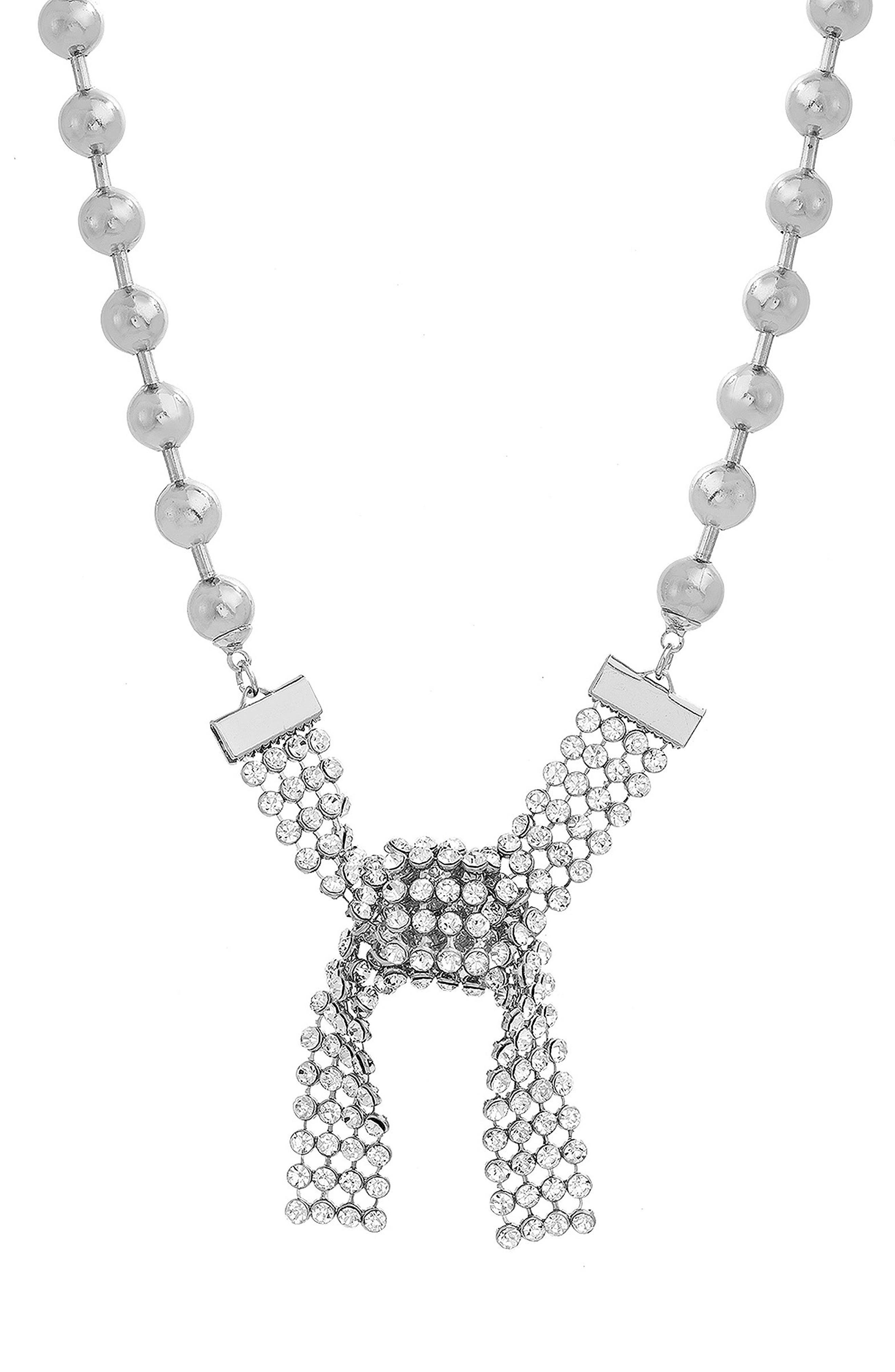 Casted Beaded Stone Collar Necklace,                             Main thumbnail 1, color,                             Silver