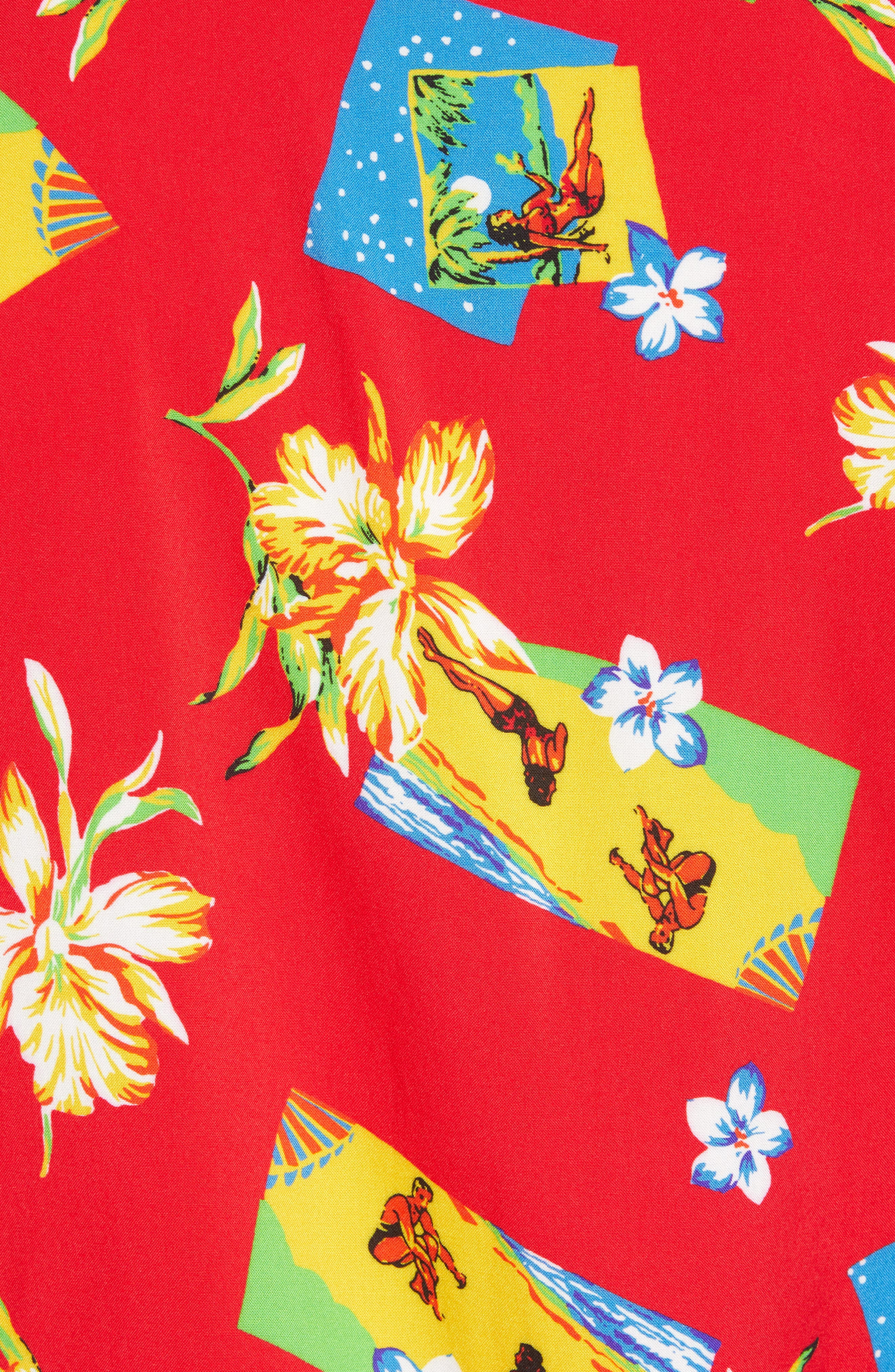 Print Camp Shirt,                             Alternate thumbnail 5, color,                             Red Aloha