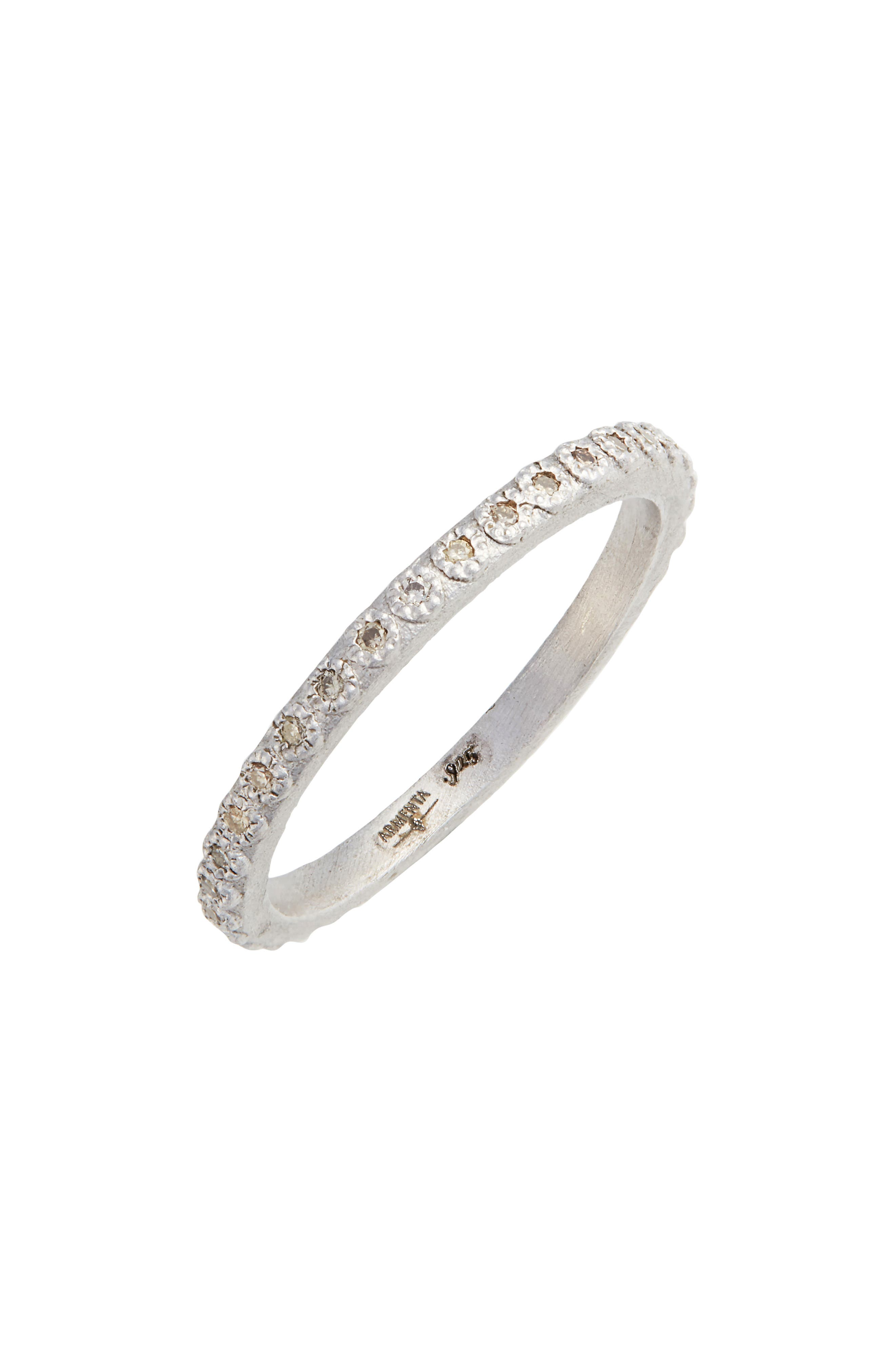 New World Silver Champagne Diamond Stacking Ring,                             Main thumbnail 1, color,                             Silver