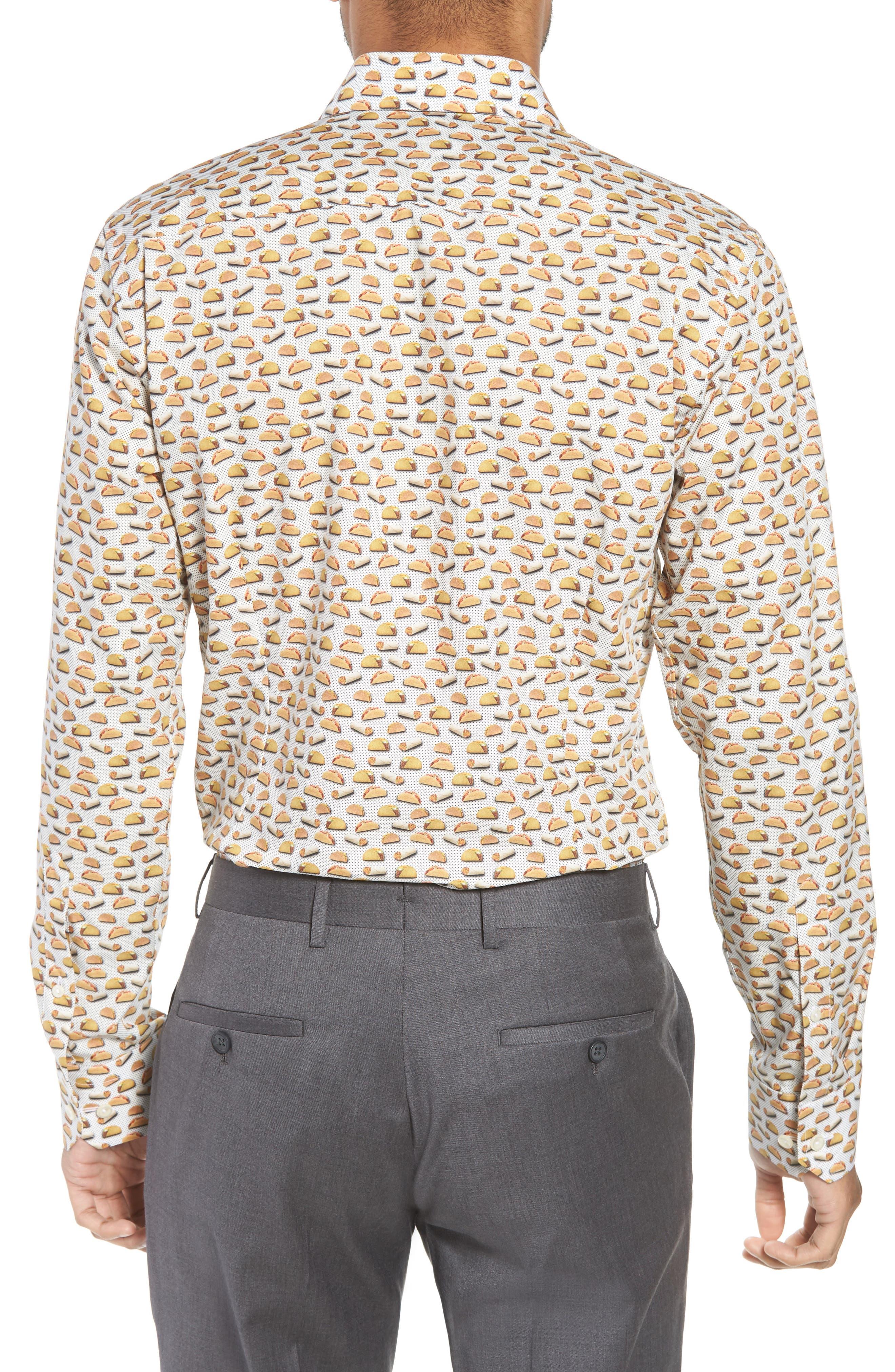 Slim Fit Taco Print Dress Shirt,                             Alternate thumbnail 3, color,                             White