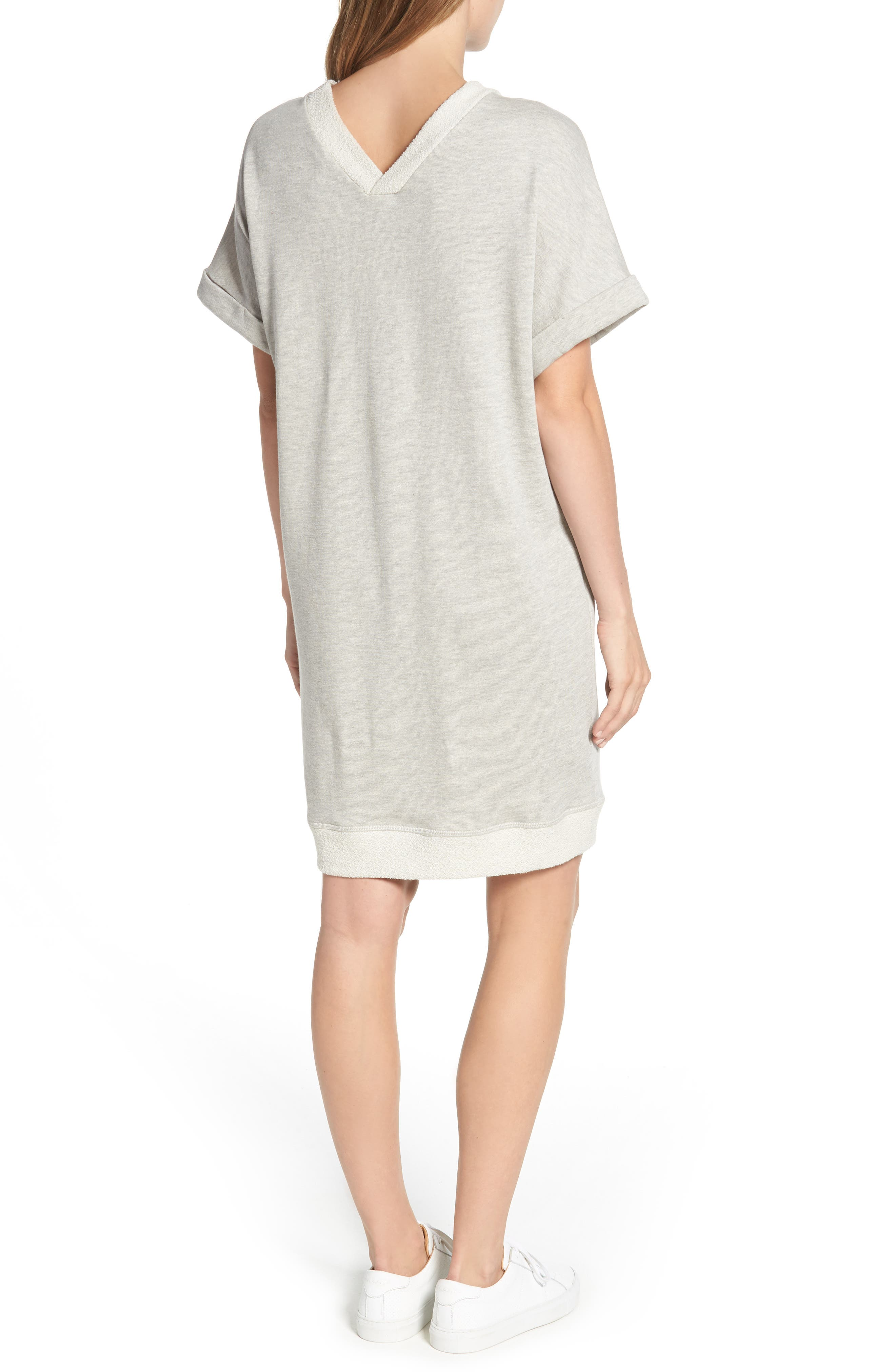 Off-Duty French Terry Dress,                             Alternate thumbnail 2, color,                             Grey Heather