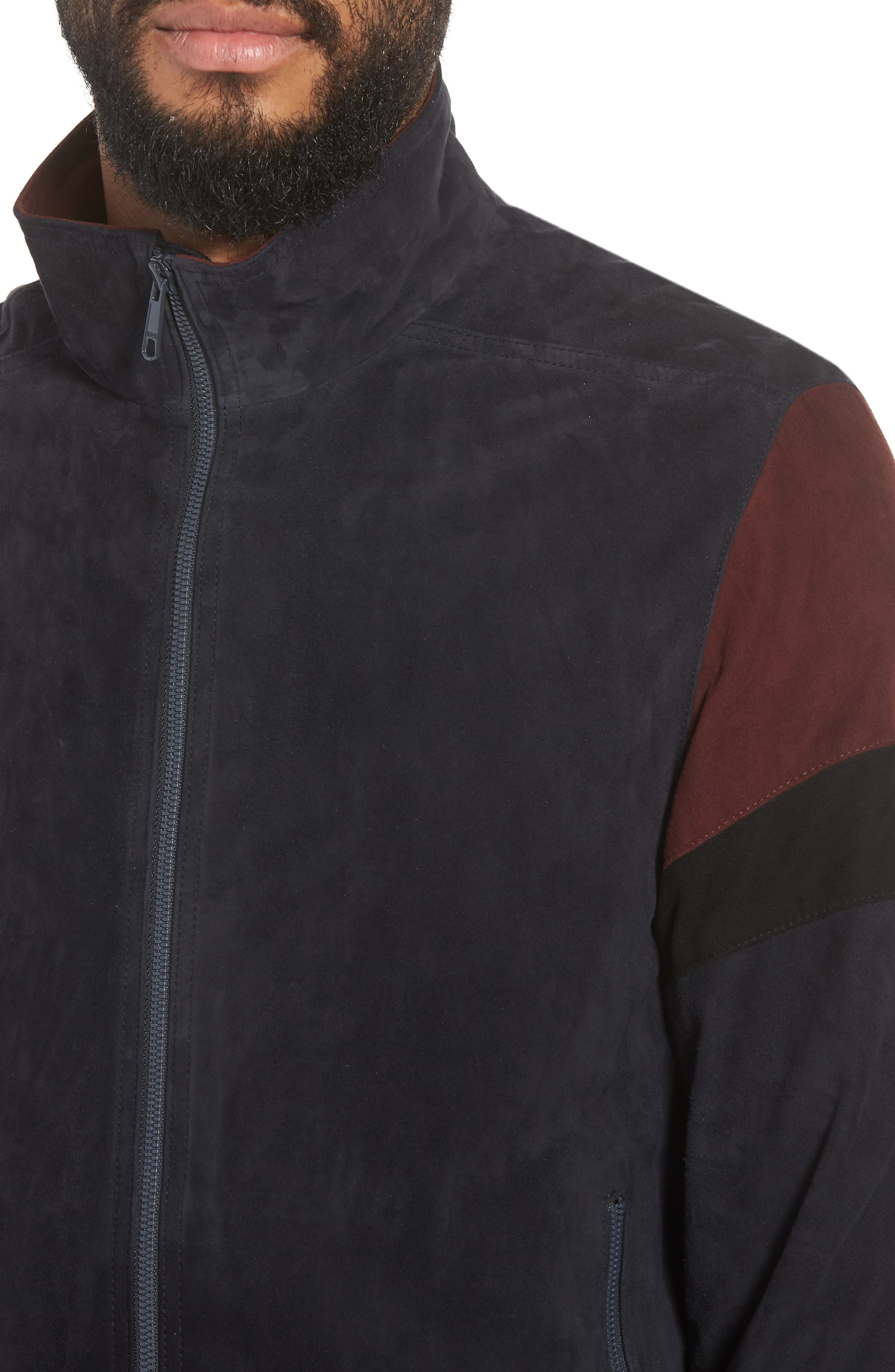 Colorblock Leather Track Jacket,                             Alternate thumbnail 4, color,                             New Coastal