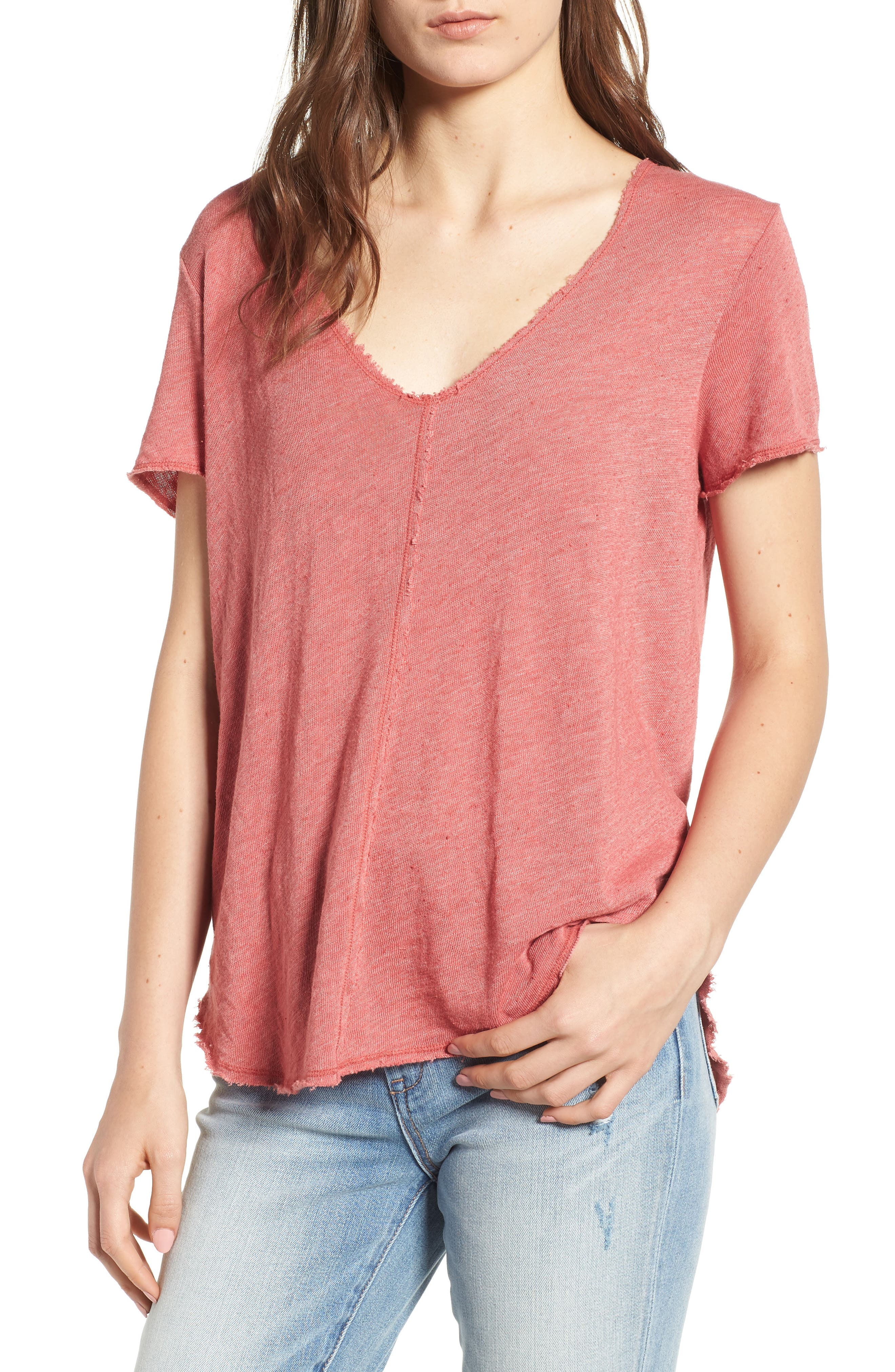 V-Neck Tee,                         Main,                         color, Strawberry Rouge