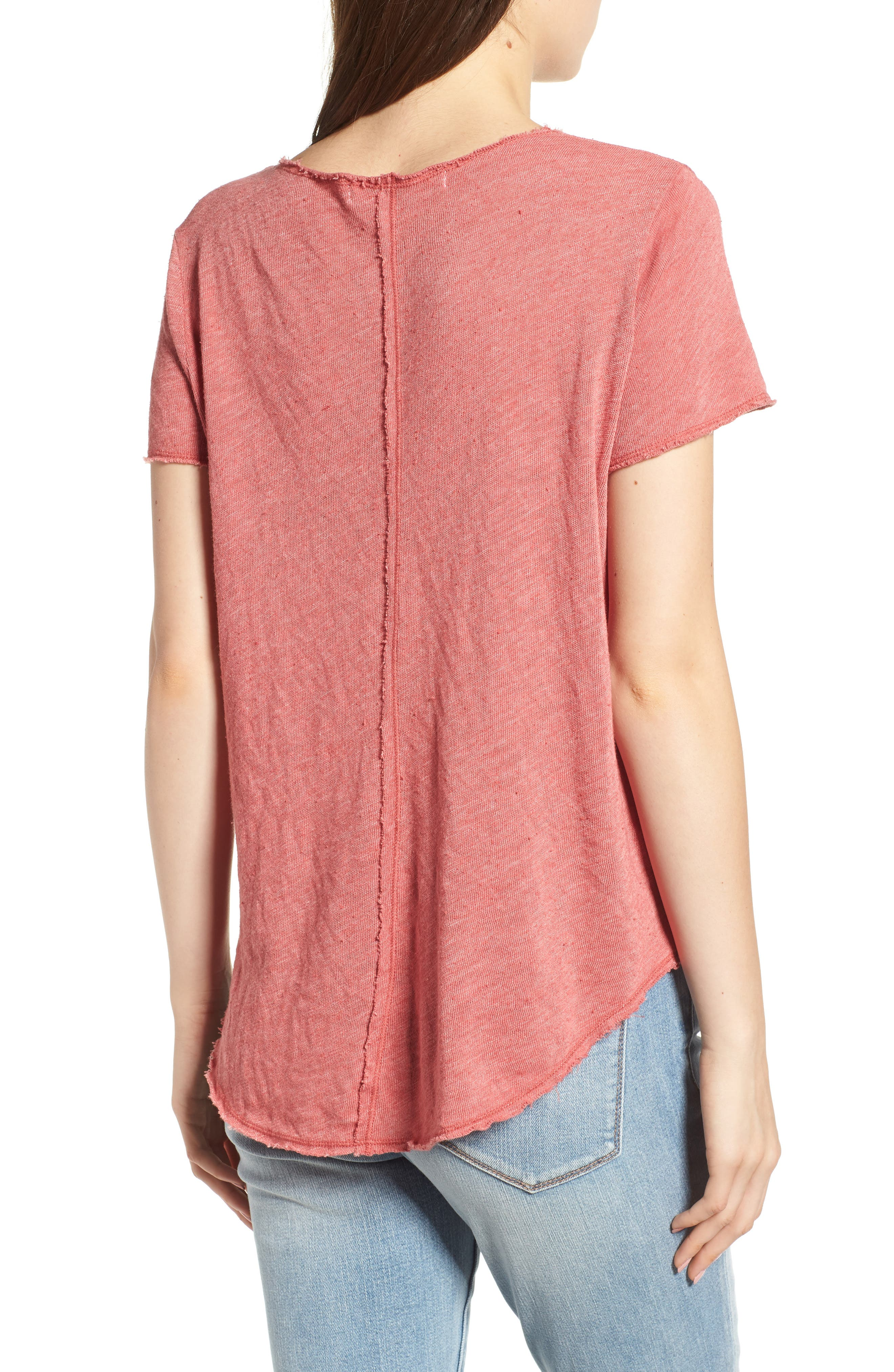 V-Neck Tee,                             Alternate thumbnail 2, color,                             Strawberry Rouge