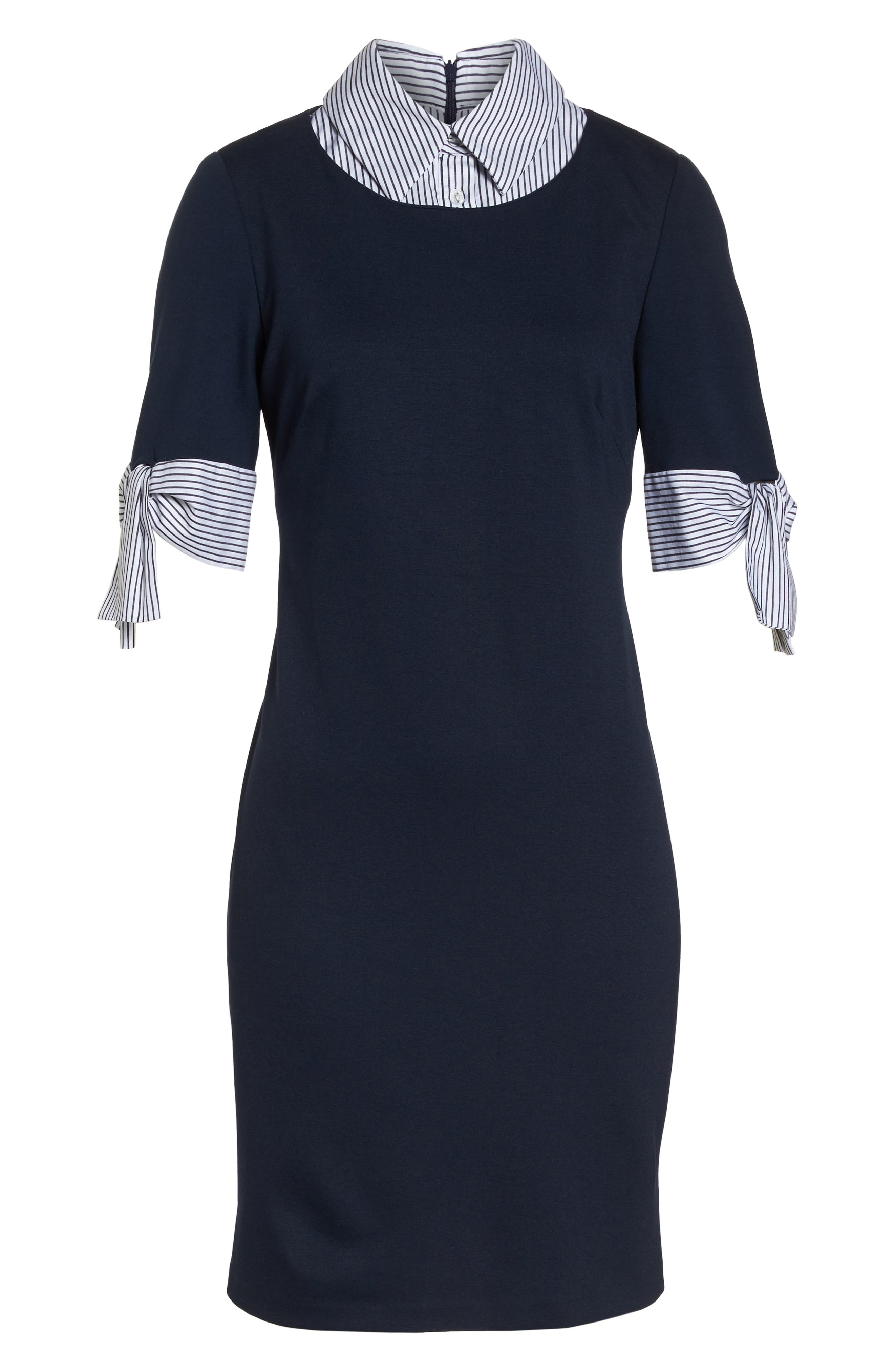 Layered Look Ponte Shift Dress,                             Alternate thumbnail 7, color,                             Navy Ivory