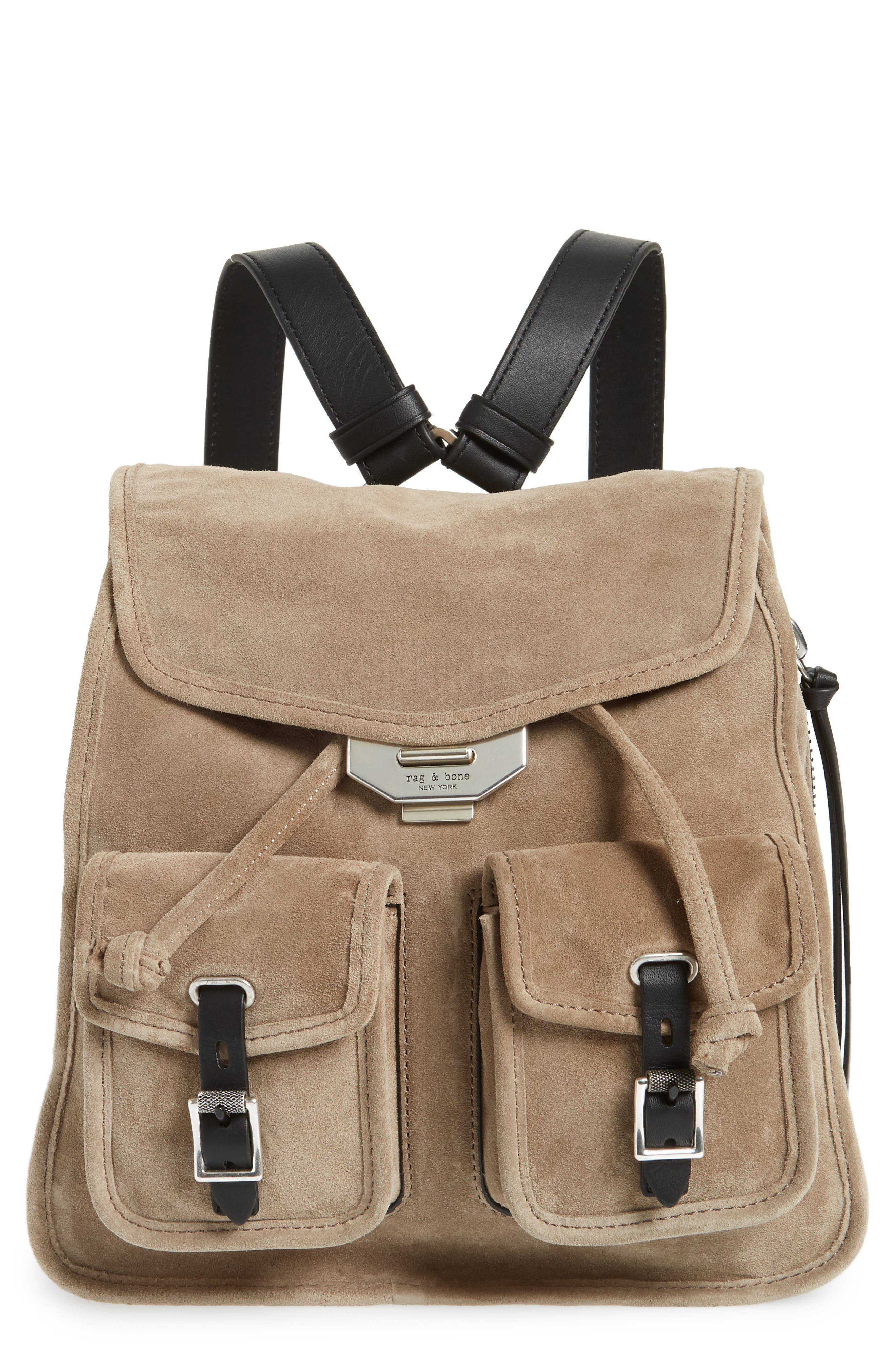 Small Suede Field Backpack,                             Main thumbnail 1, color,                             Warm Grey Suede