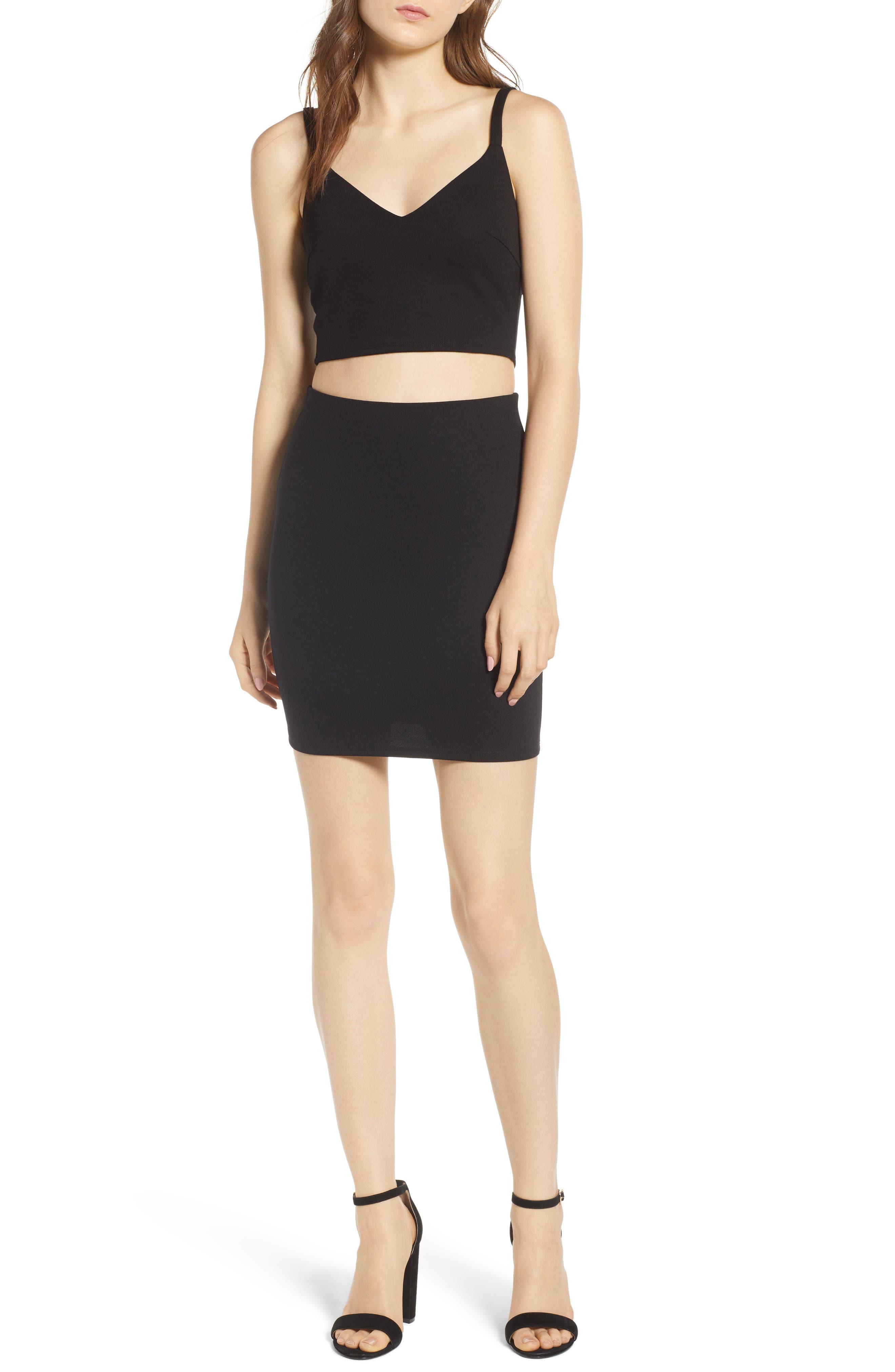 Stretch Ponte Mini Skirt,                             Alternate thumbnail 2, color,                             Black