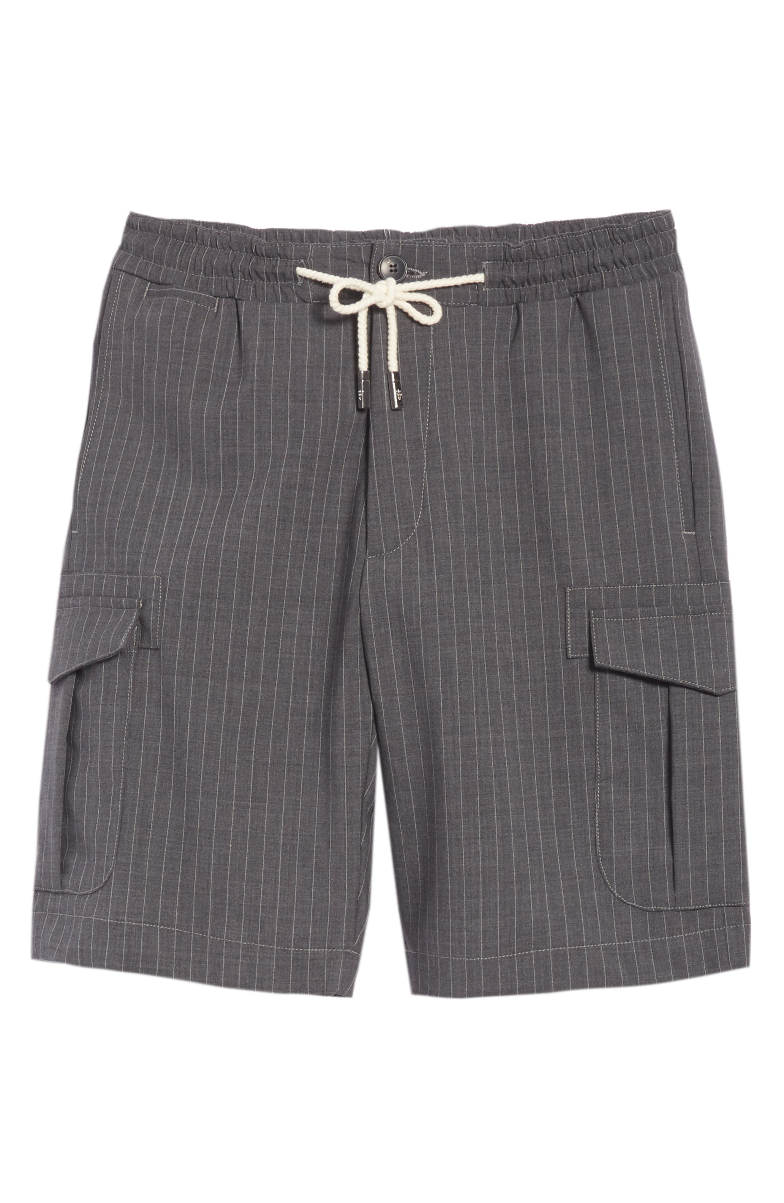 Stretch Wool Cargo Shorts,                             Alternate thumbnail 6, color,                             Dark Grey