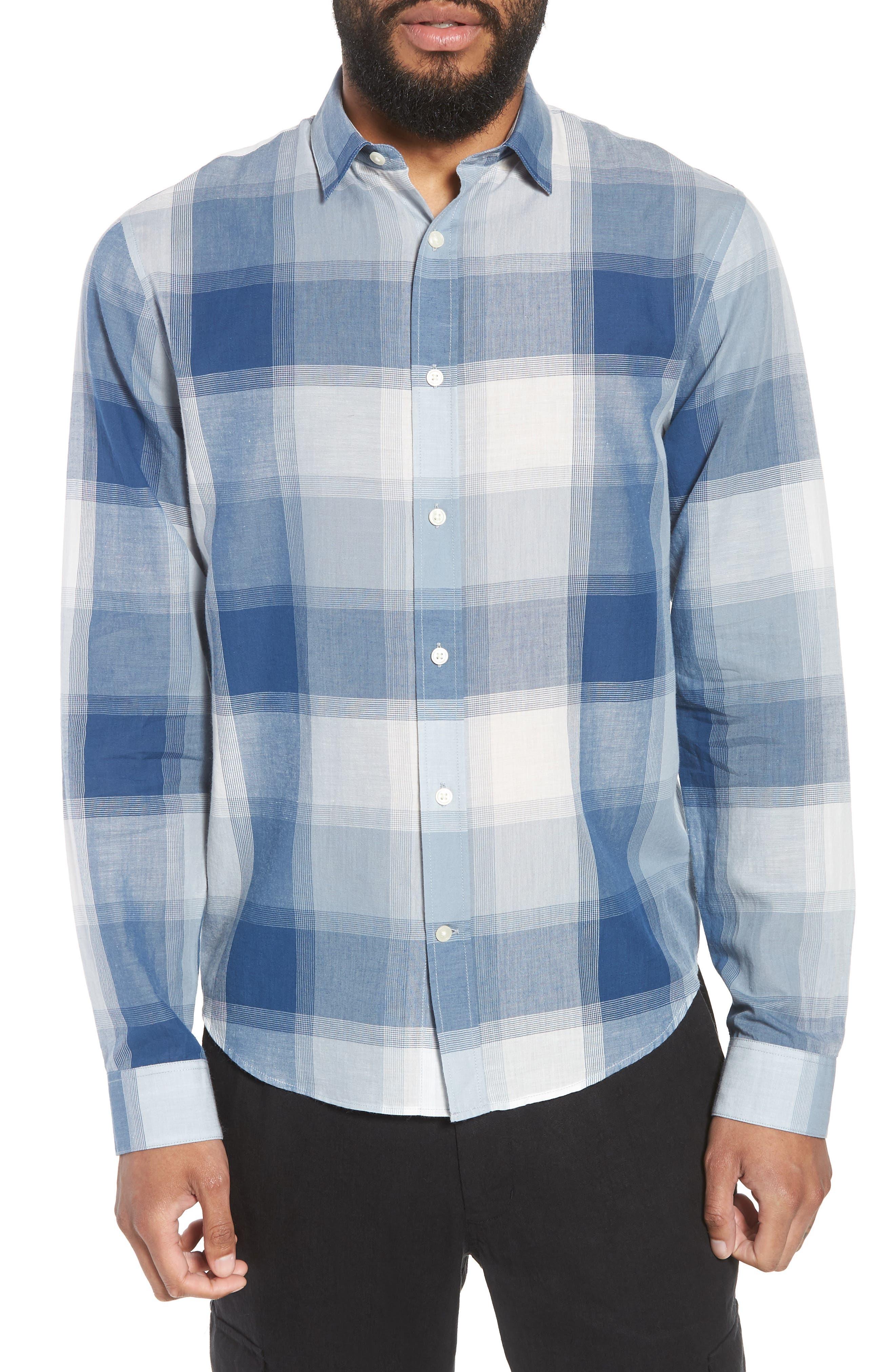 Classic Fit Plaid Sport Shirt,                         Main,                         color, Ocean