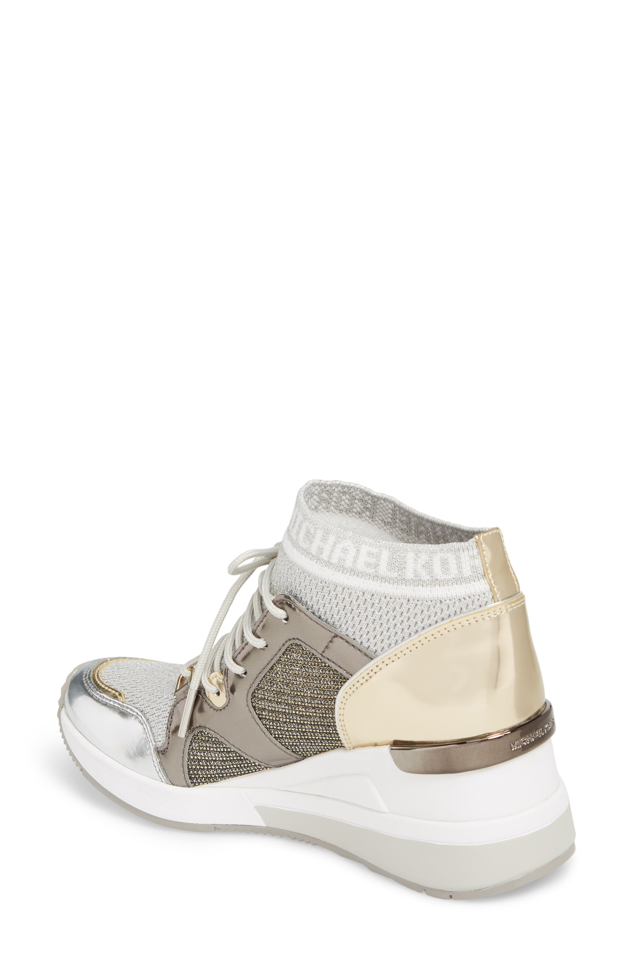 Hilda Wedge Sneaker,                             Alternate thumbnail 2, color,                             Silver Knit Fabric