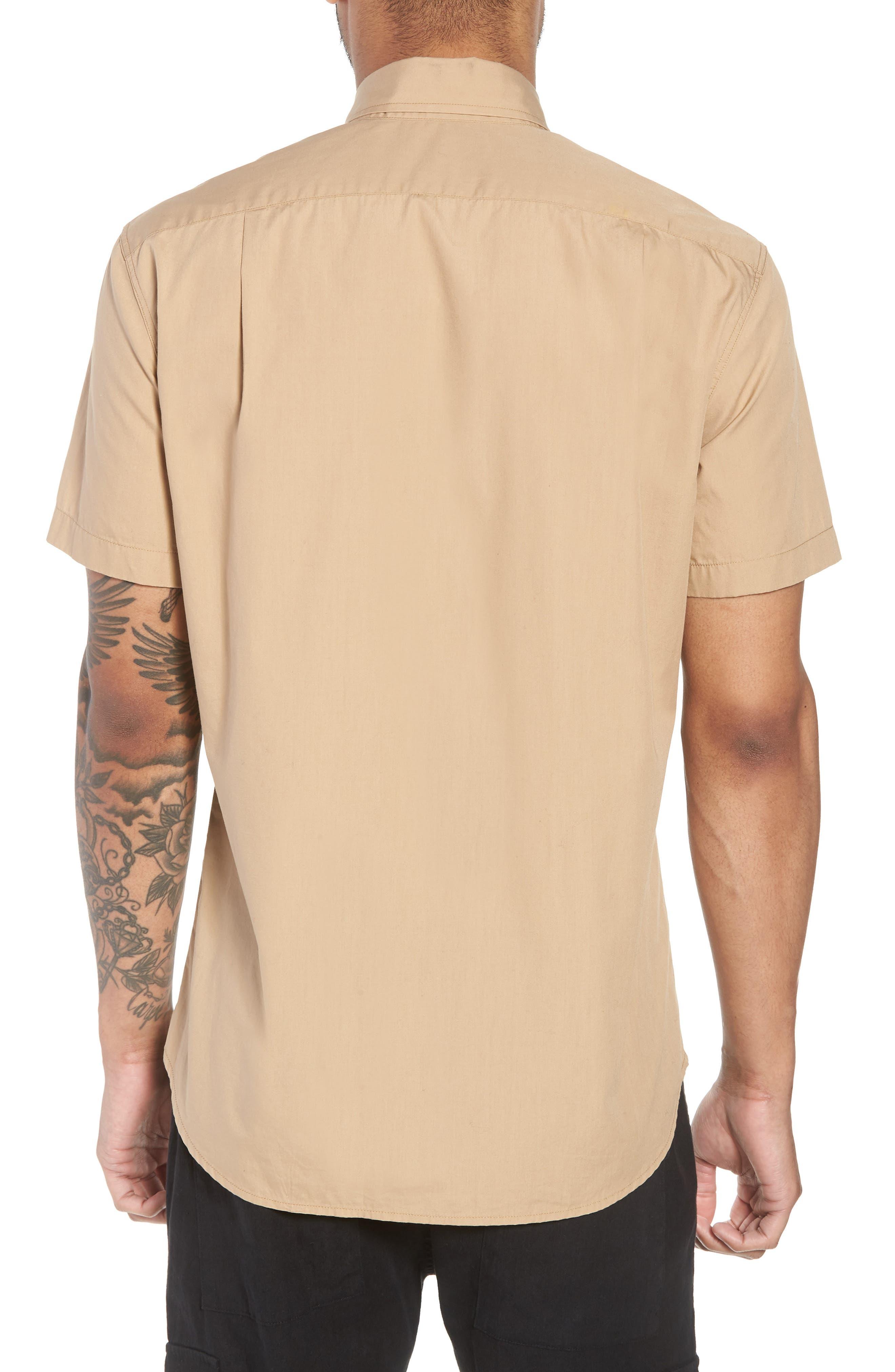 Slim Fit Solid Short Sleeve Sport Shirt,                             Alternate thumbnail 2, color,                             Khaki