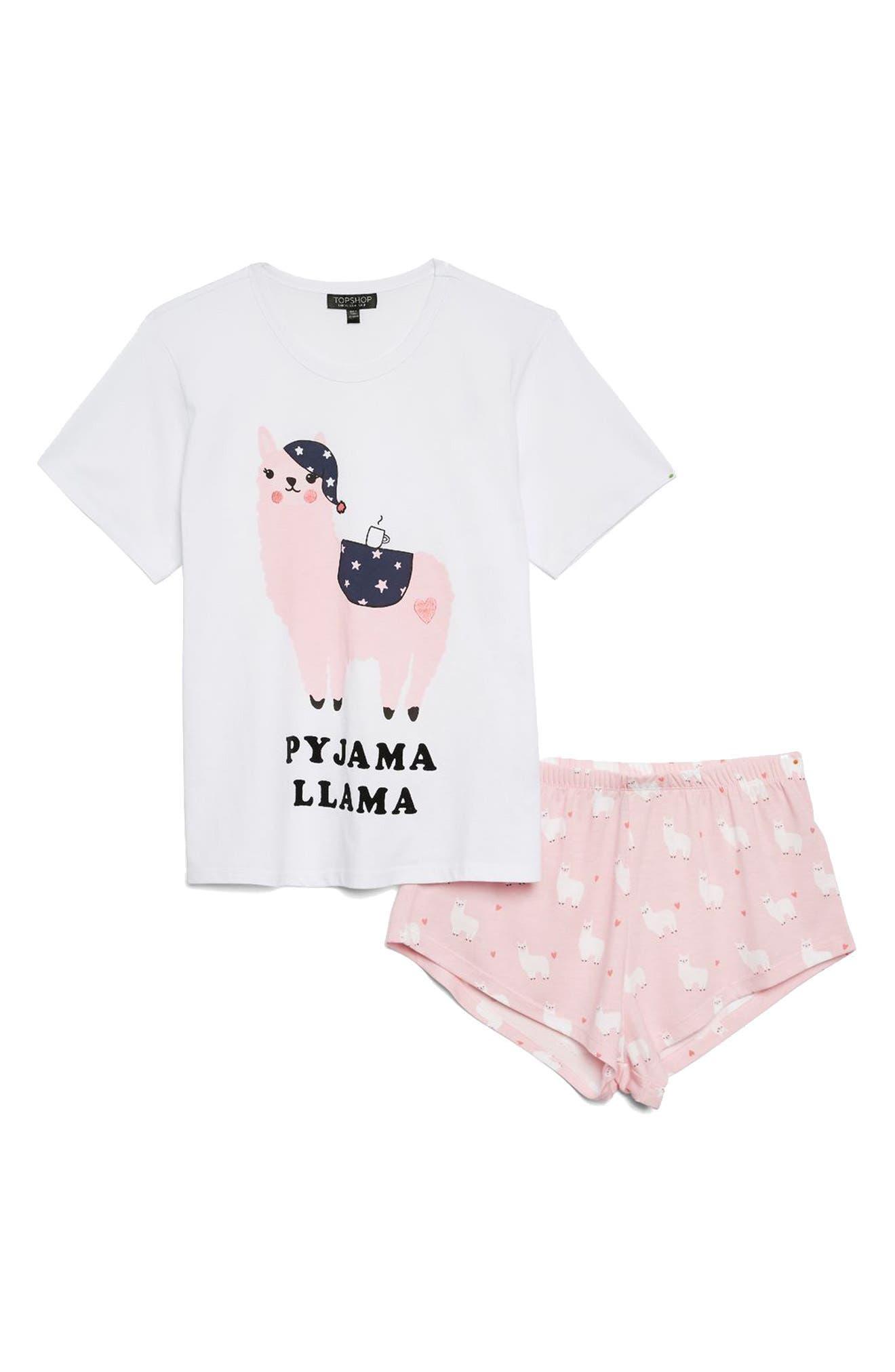 Llama Short Pajamas,                             Alternate thumbnail 3, color,                             Pink Multi