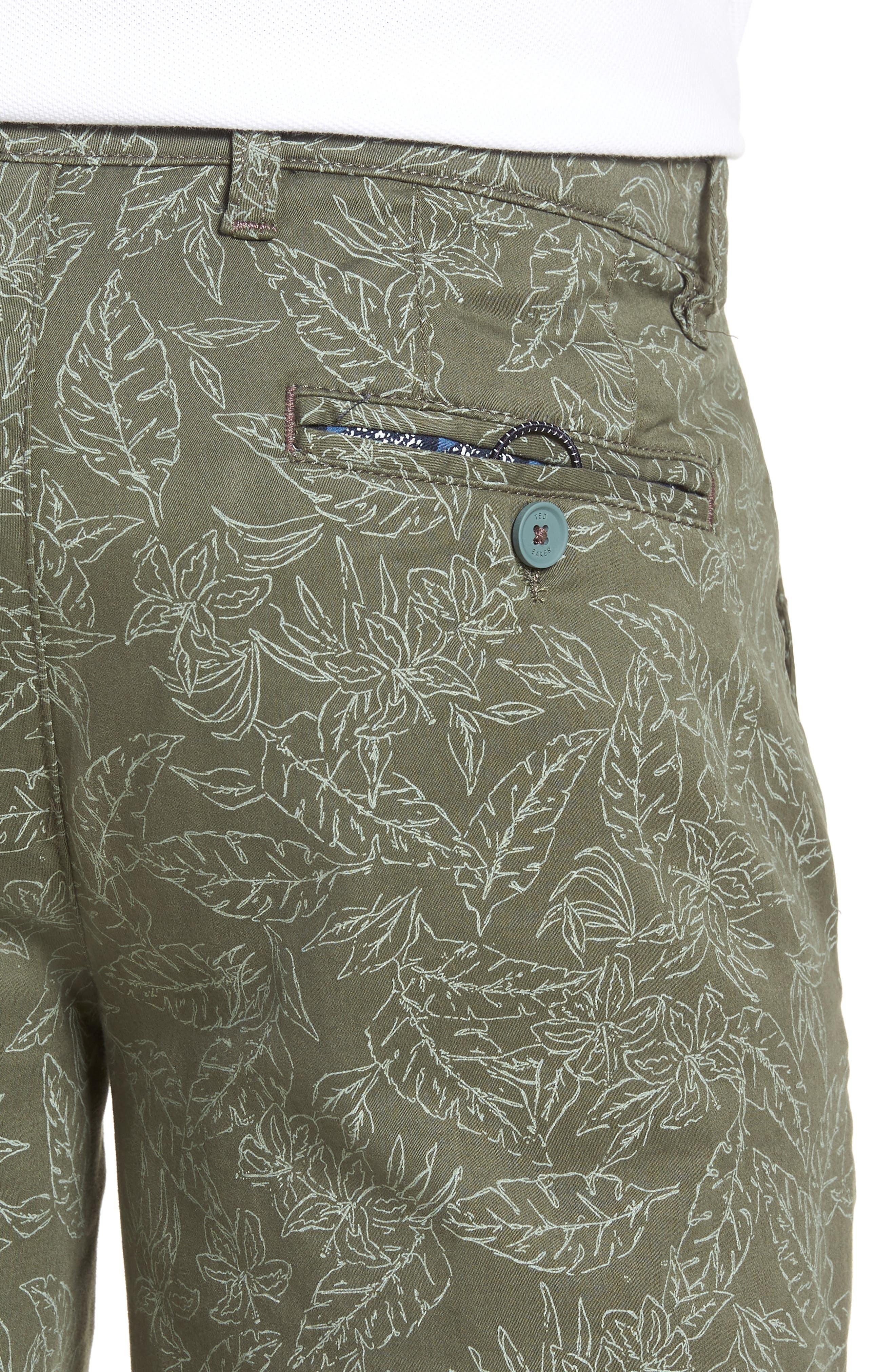 Leaf Print Shorts,                             Alternate thumbnail 4, color,                             Green