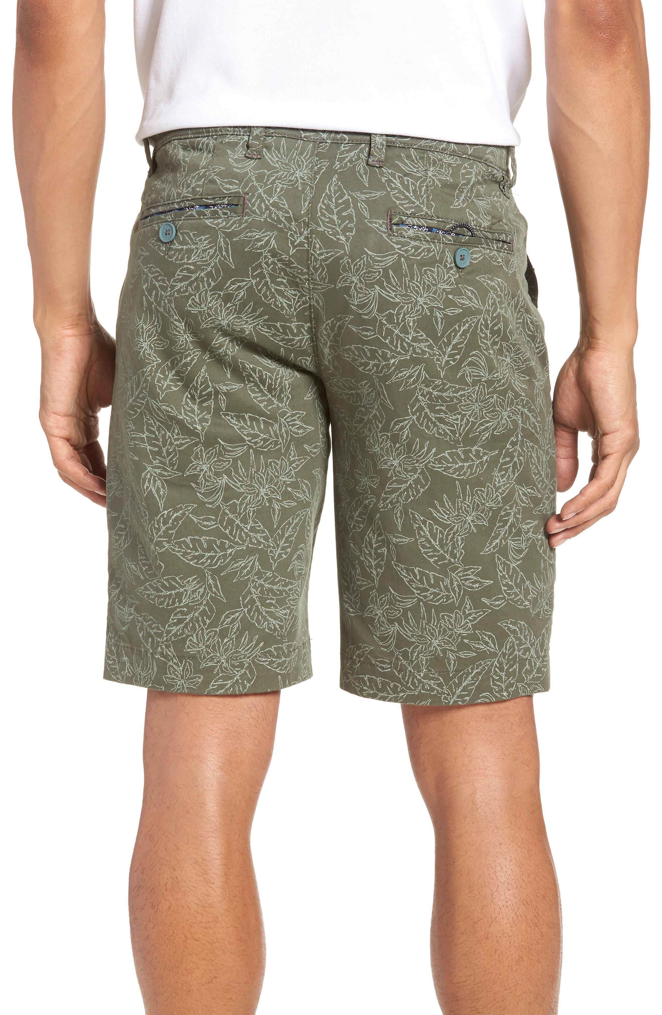 Leaf Print Shorts,                             Alternate thumbnail 2, color,                             Green