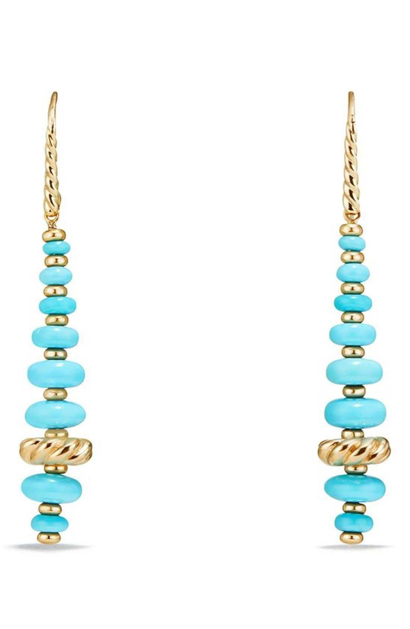 Rio Rondelle Drop Earrings in 18K Gold,                             Main thumbnail 1, color,                             Gold/ Turquoise