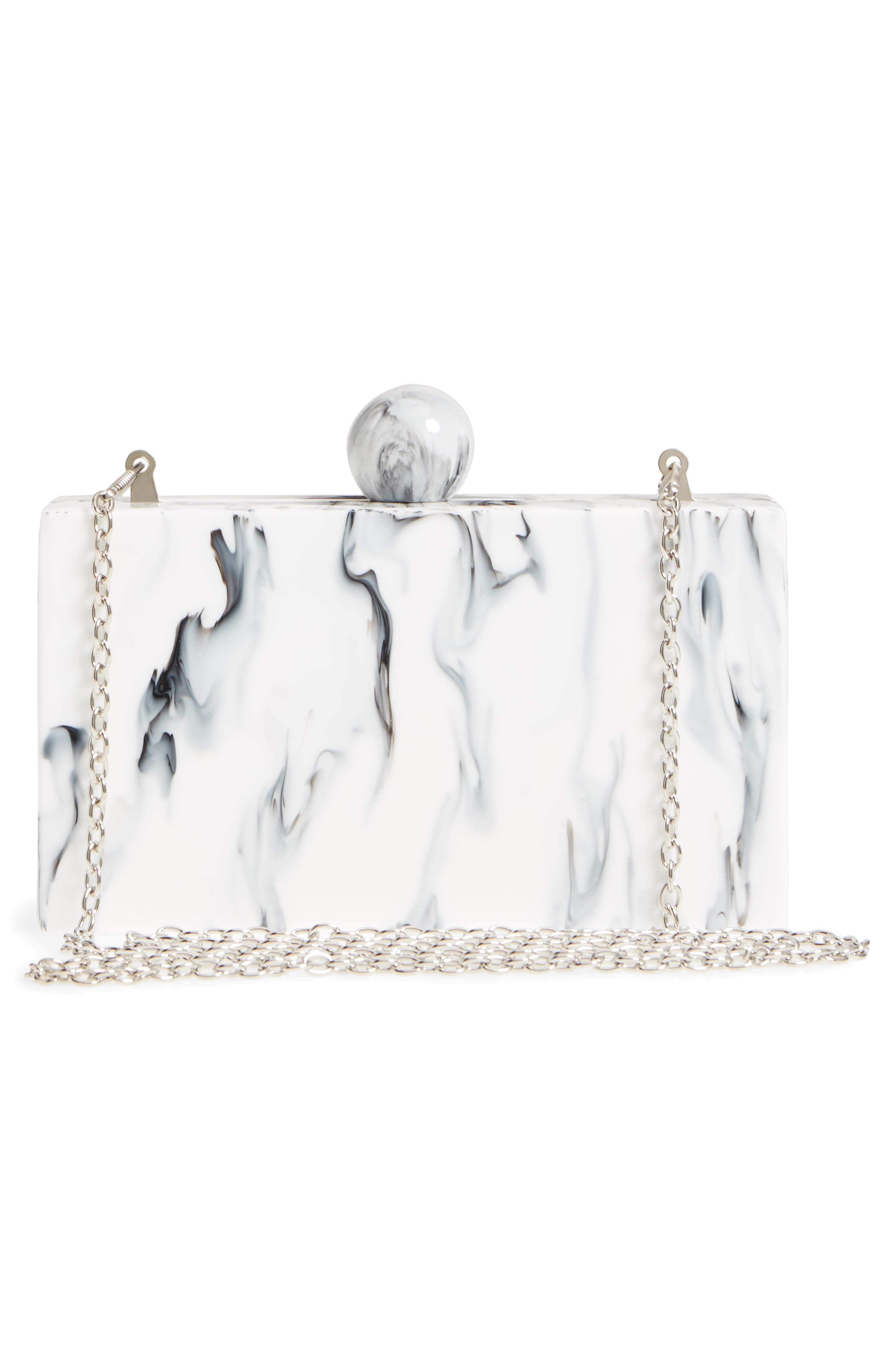 Valyn Marbled Box Clutch,                             Alternate thumbnail 3, color,                             White Marble