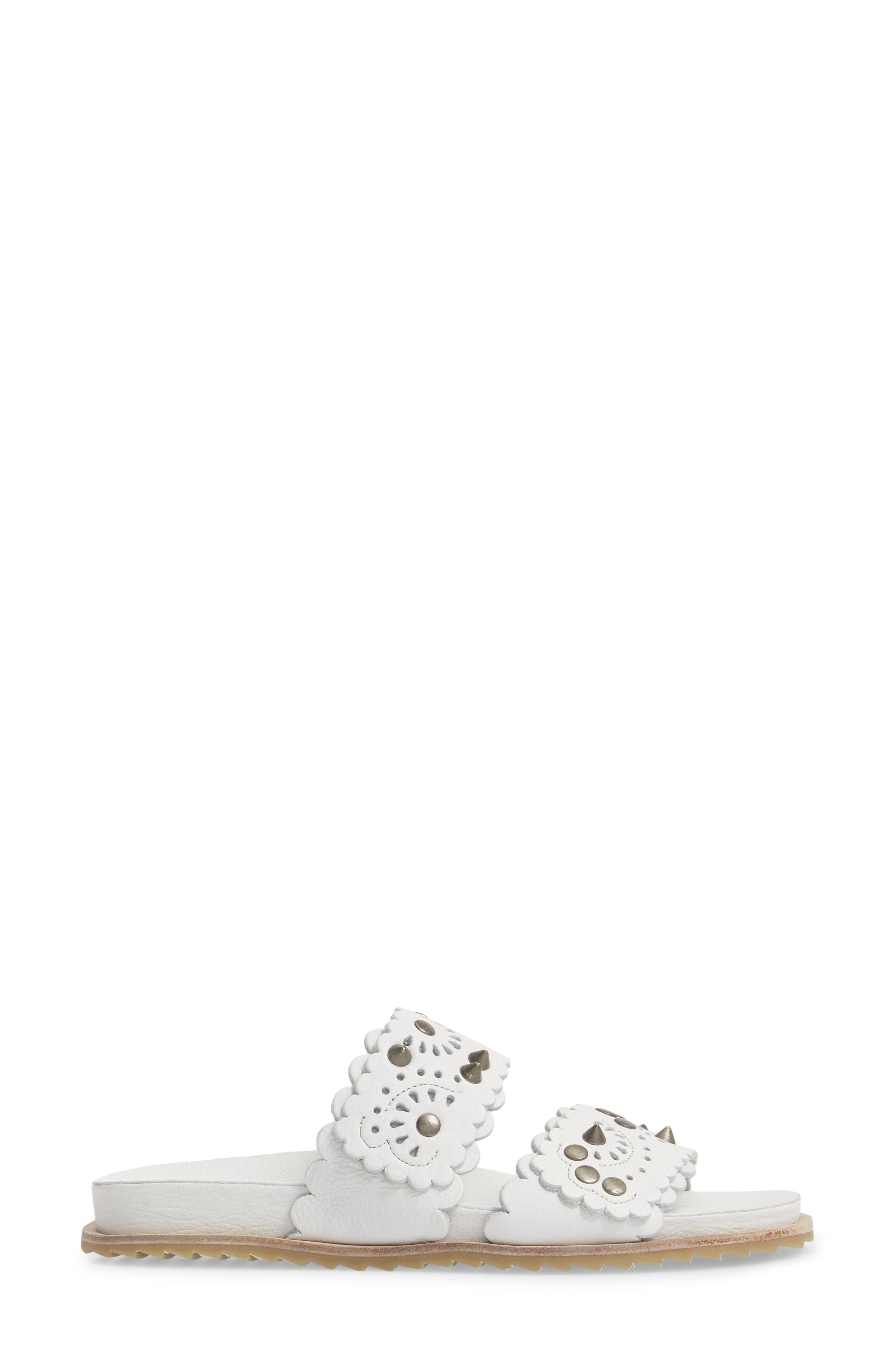 Spellbound Embellished Slide Sandal,                             Alternate thumbnail 3, color,                             White