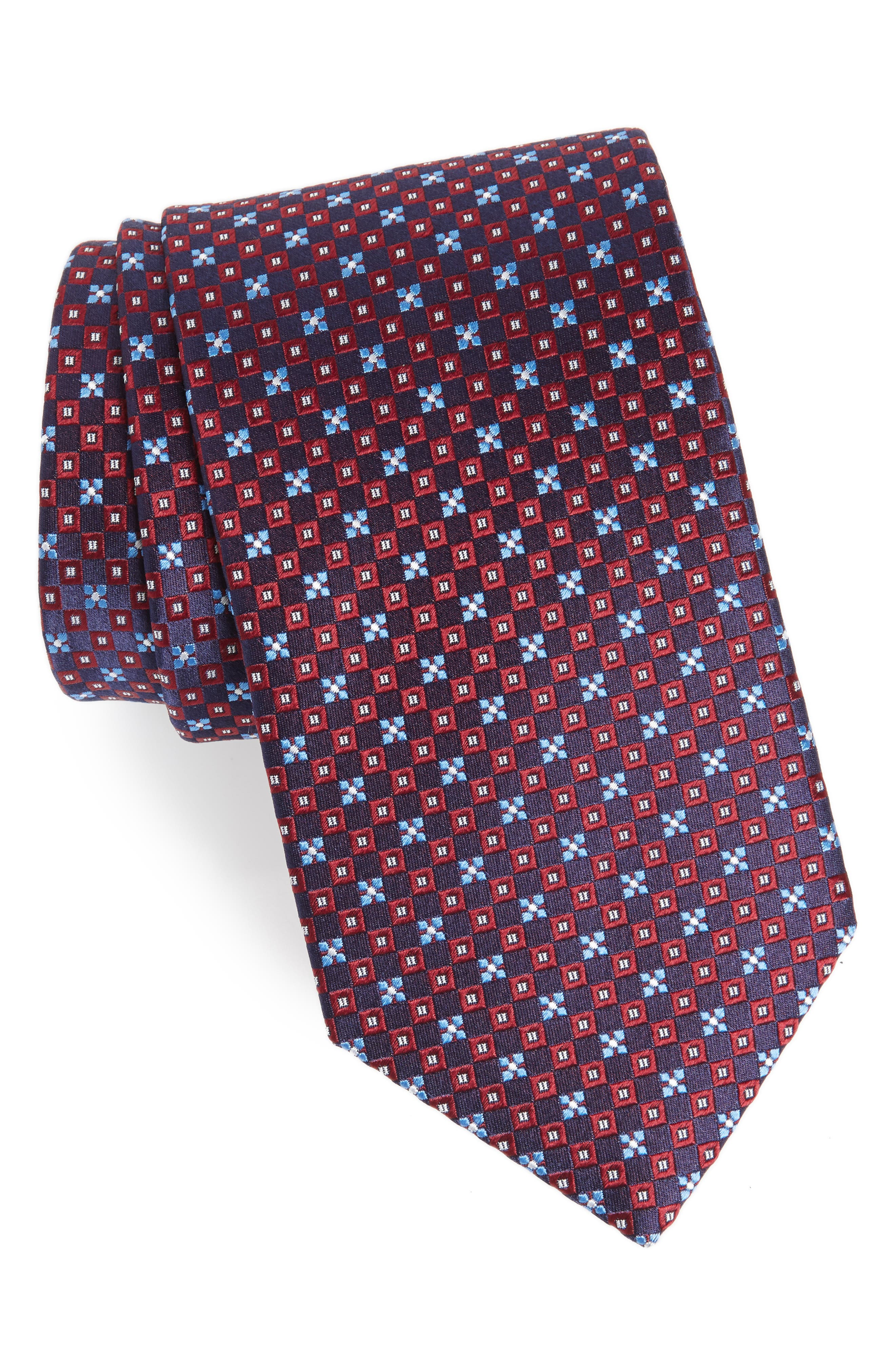 Floral Silk Tie,                         Main,                         color, Red