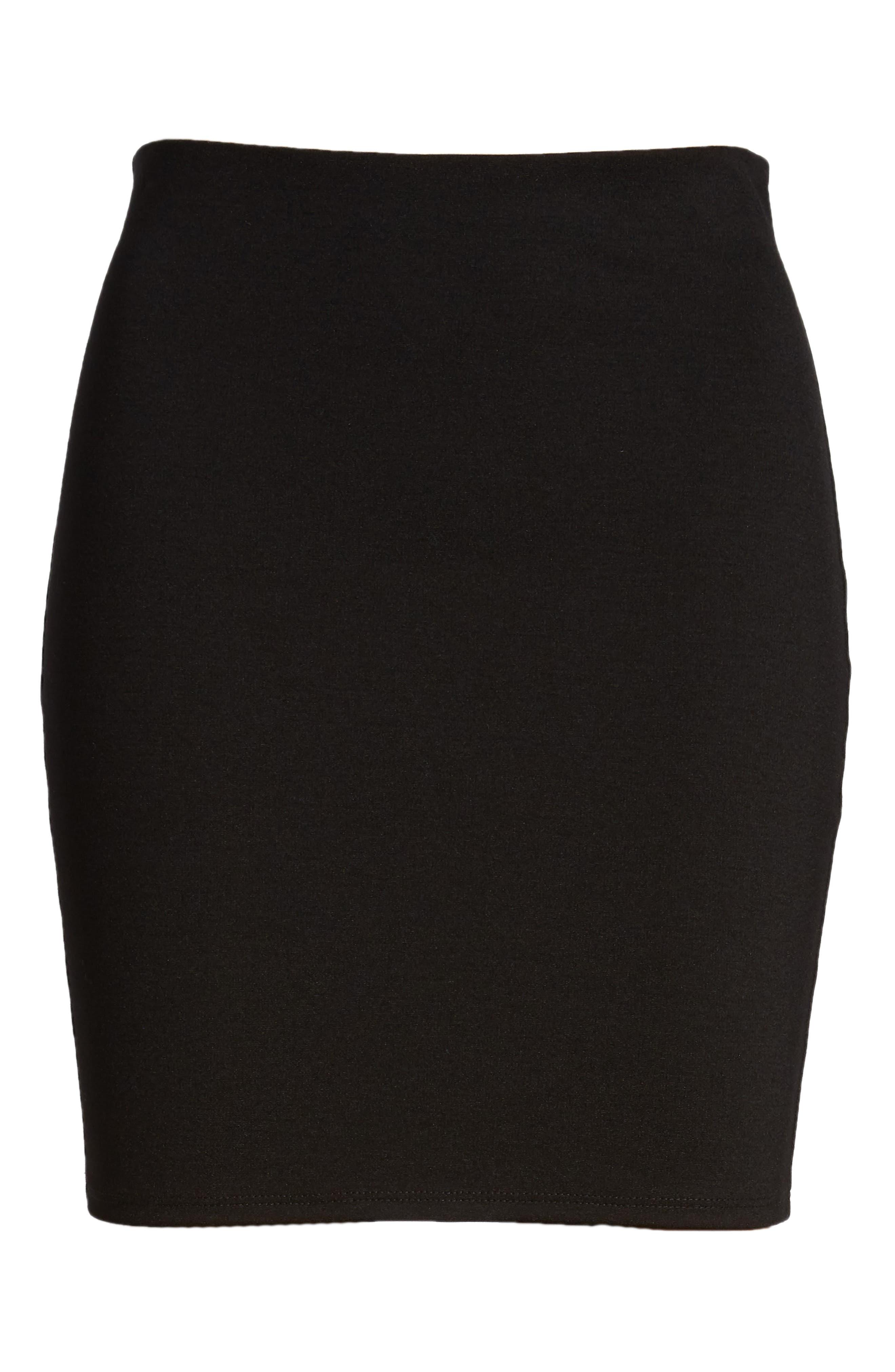 Stretch Ponte Mini Skirt,                             Alternate thumbnail 7, color,                             Black