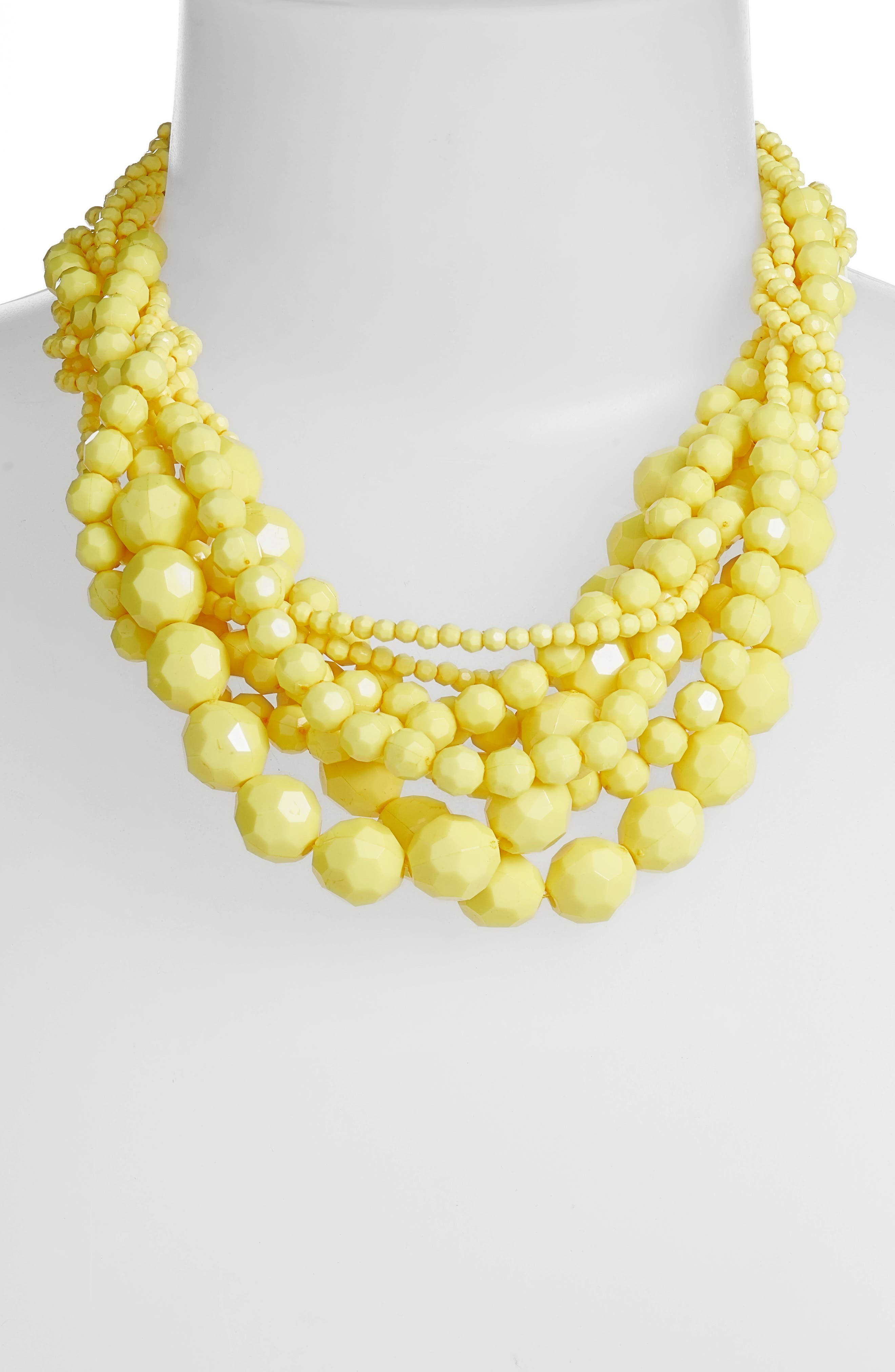 Multi Strand Beaded Necklace,                             Alternate thumbnail 2, color,                             Gold/ Yellow