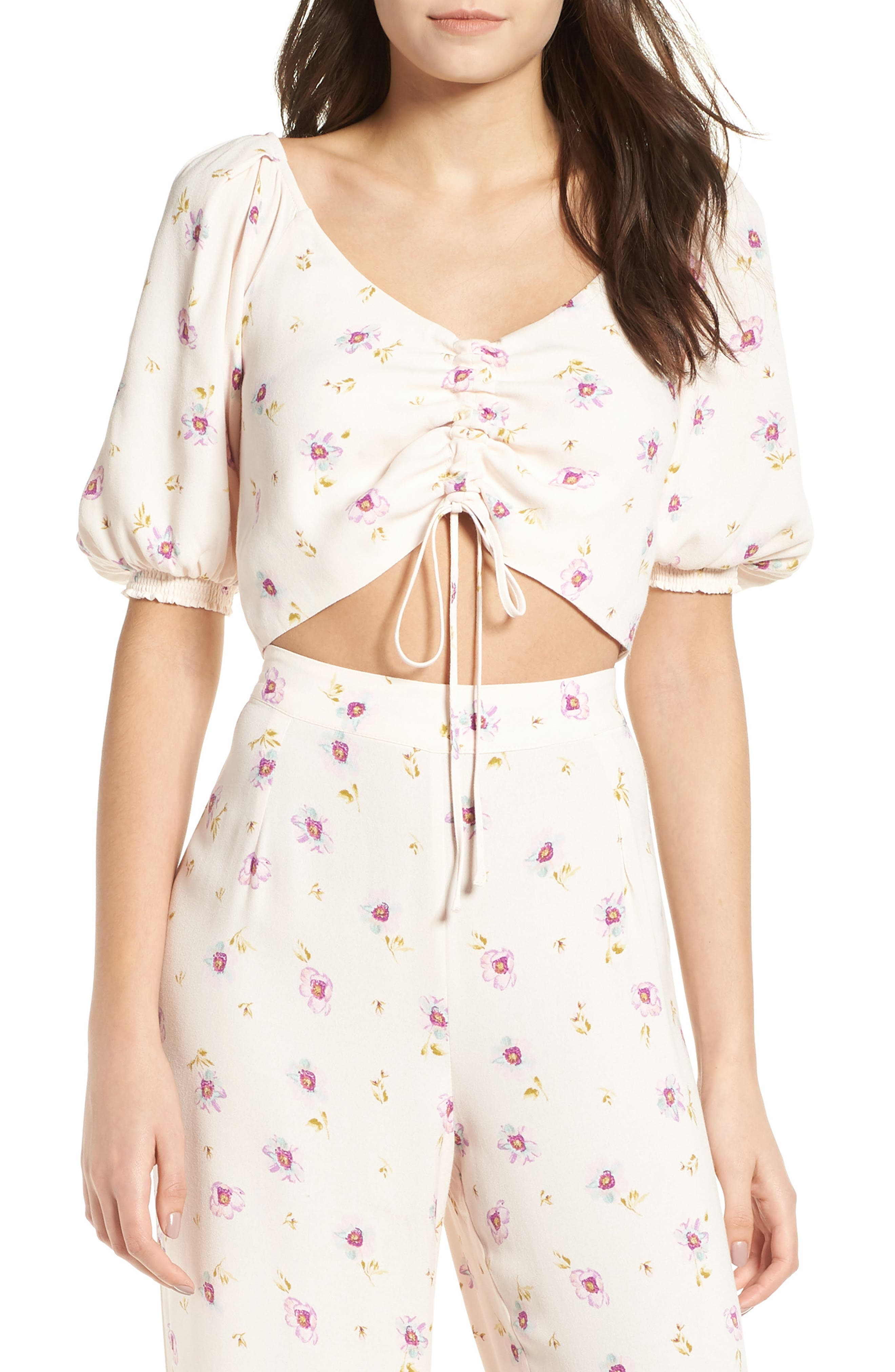 Rodeo Ruched Crop Top,                             Main thumbnail 1, color,                             Lilac Floral
