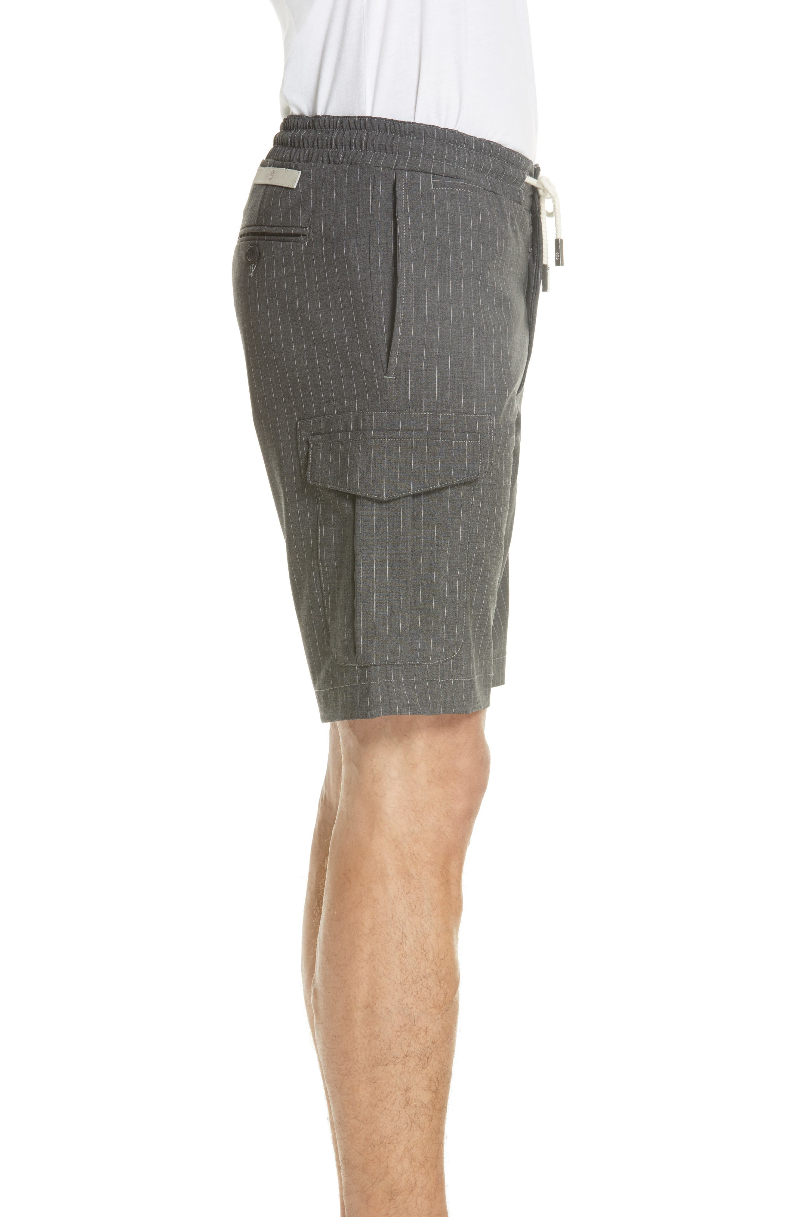 Stretch Wool Cargo Shorts,                             Alternate thumbnail 3, color,                             Dark Grey