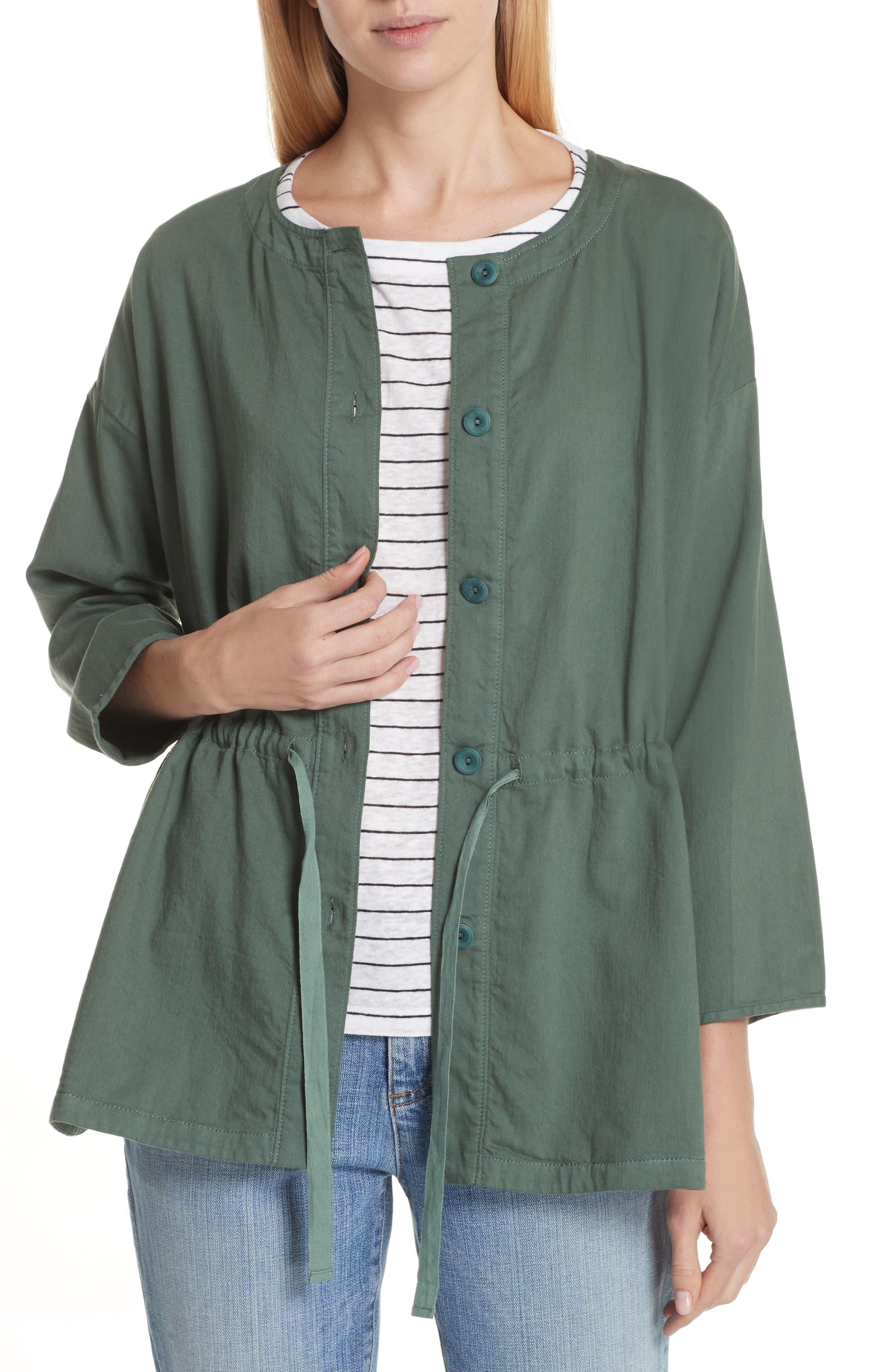 Eileen Fisher Shirttail Hem Organic Cotton Jacket (Regular & Petite)