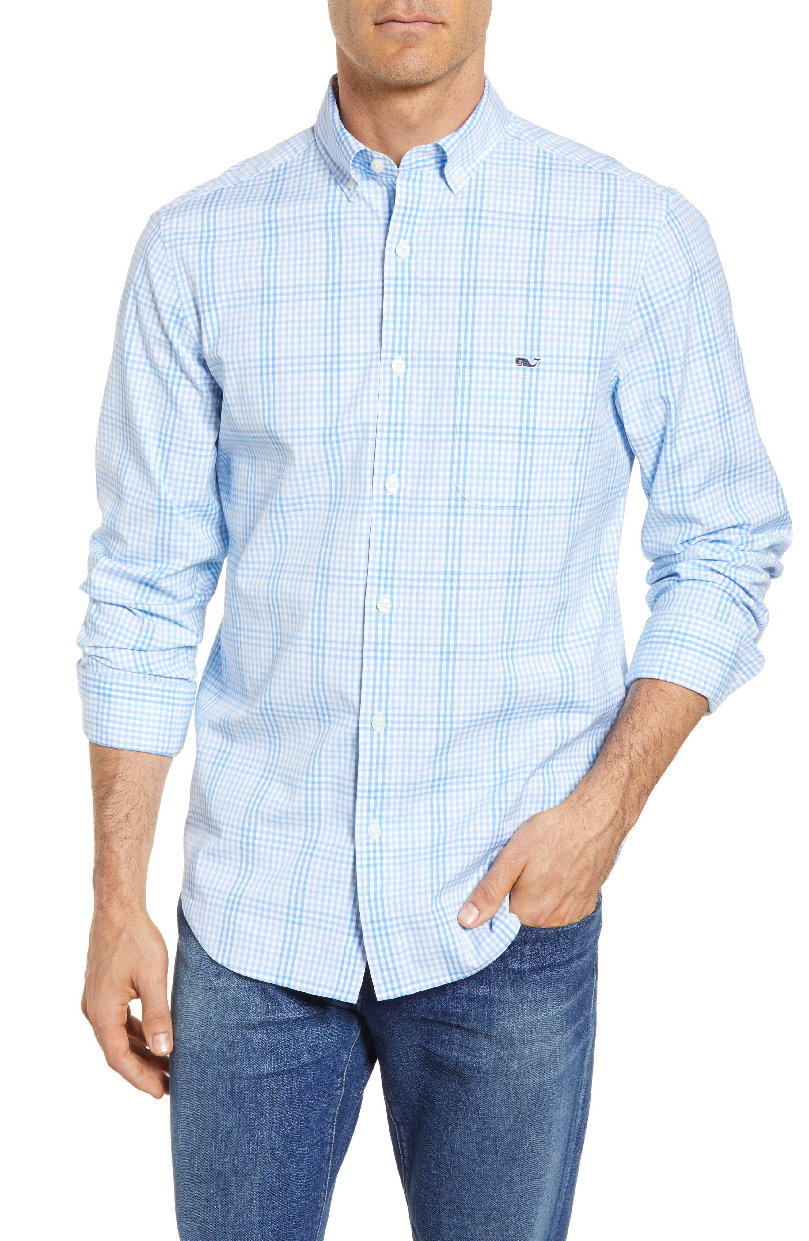 Ridge Hill Classic Fit Check Sport Shirt,                         Main,                         color, Harbor Cay