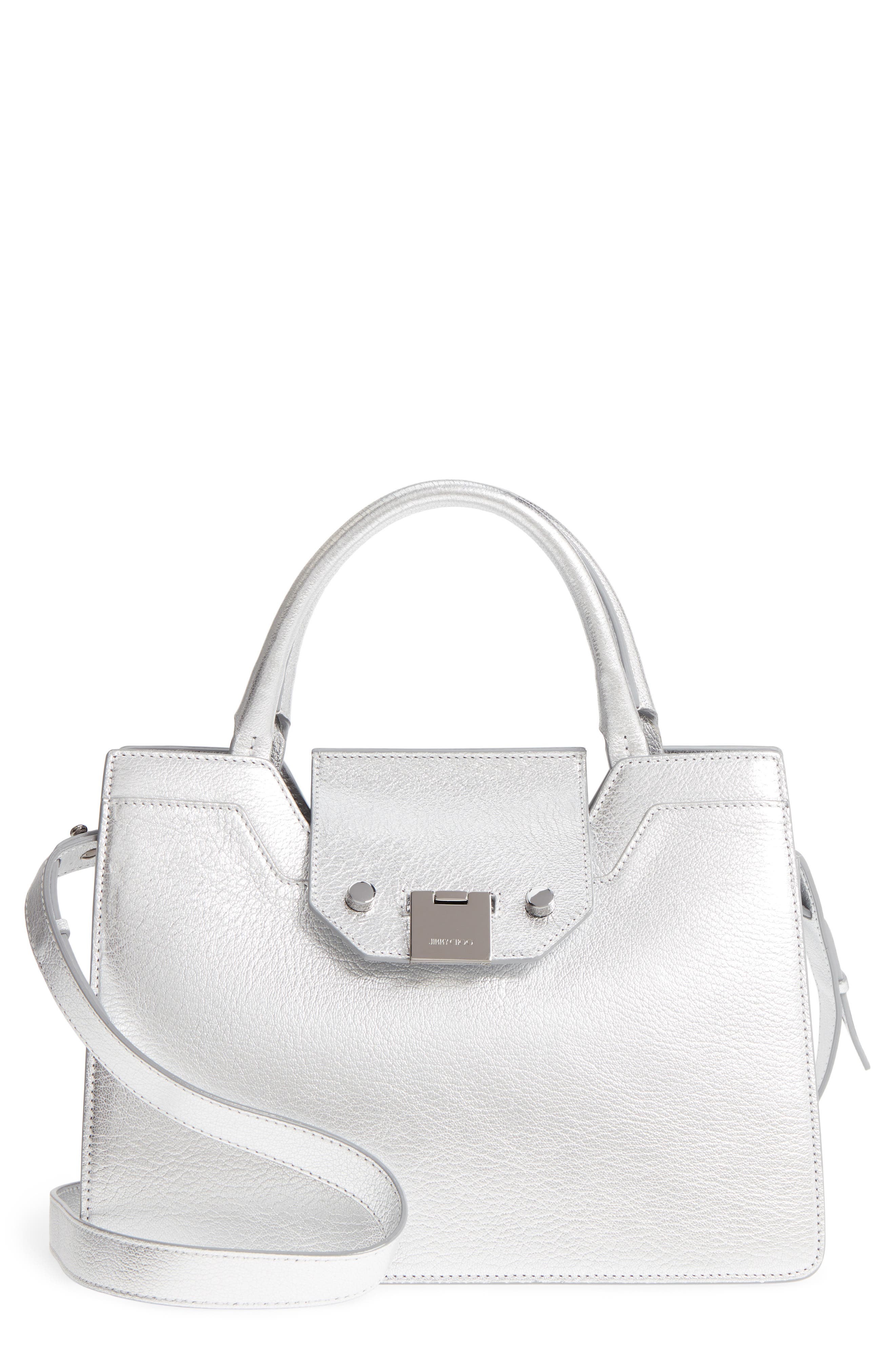 Small Rebel Metallic Leather Tote,                             Main thumbnail 1, color,                             Silver