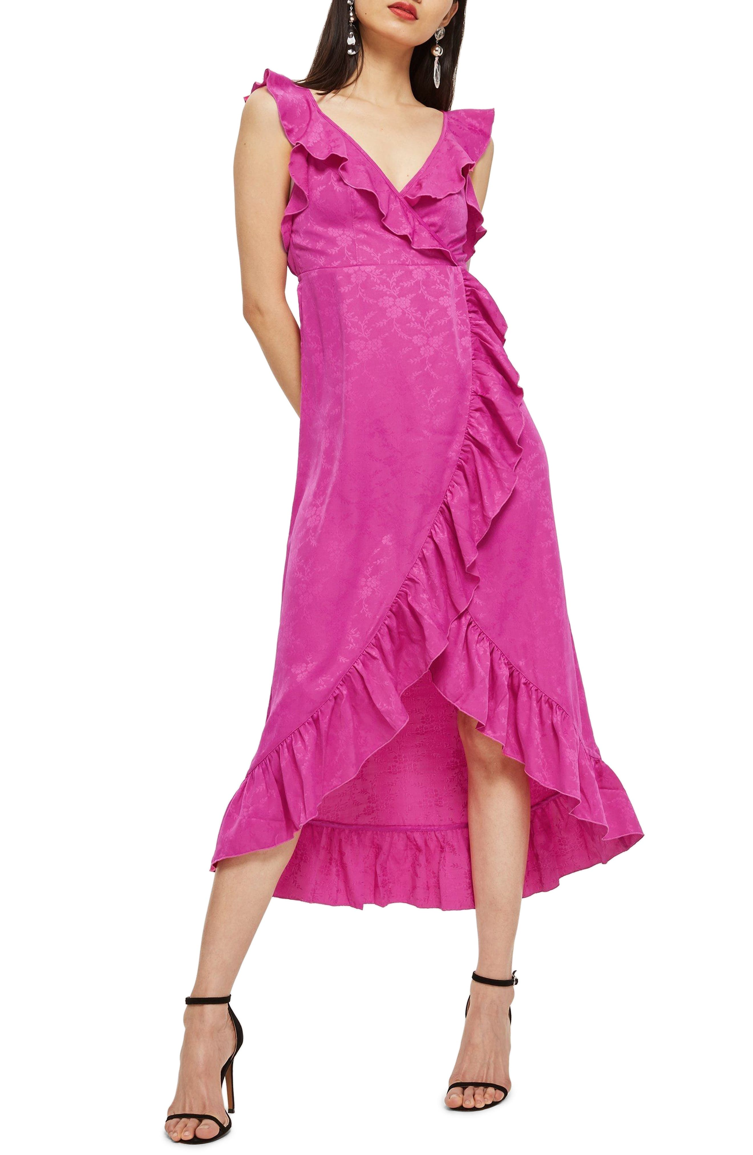 Jacquard Ruffle Faux Wrap Midi Dress,                         Main,                         color, Pink